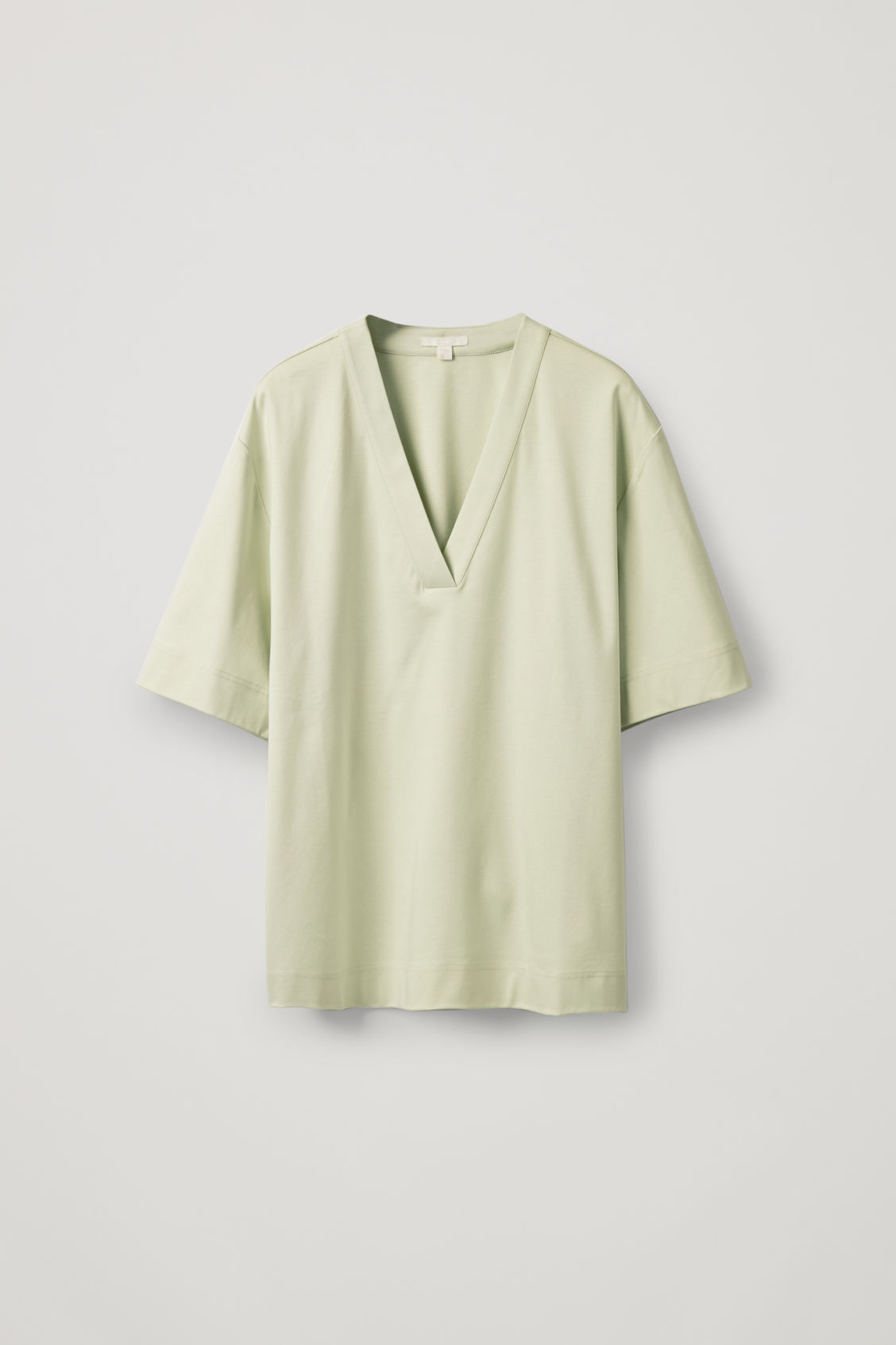 Cos Slit-Neck Jersey Top In Green