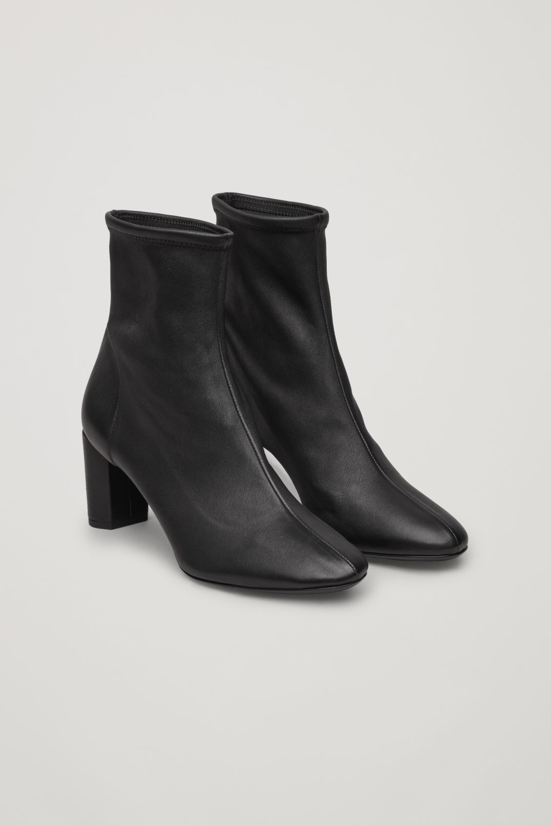 Stretch-Leather Ankle Boots in Black from COS