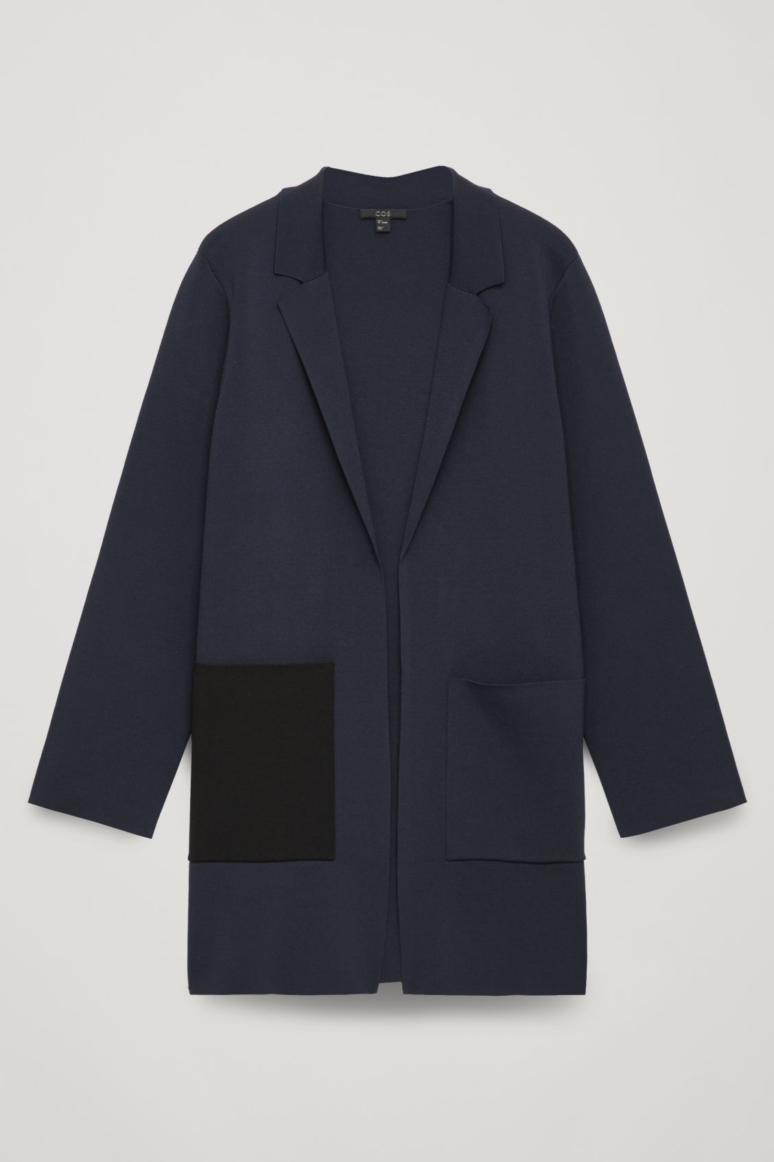 Long Structured-Knit Jacket in Blue from COS