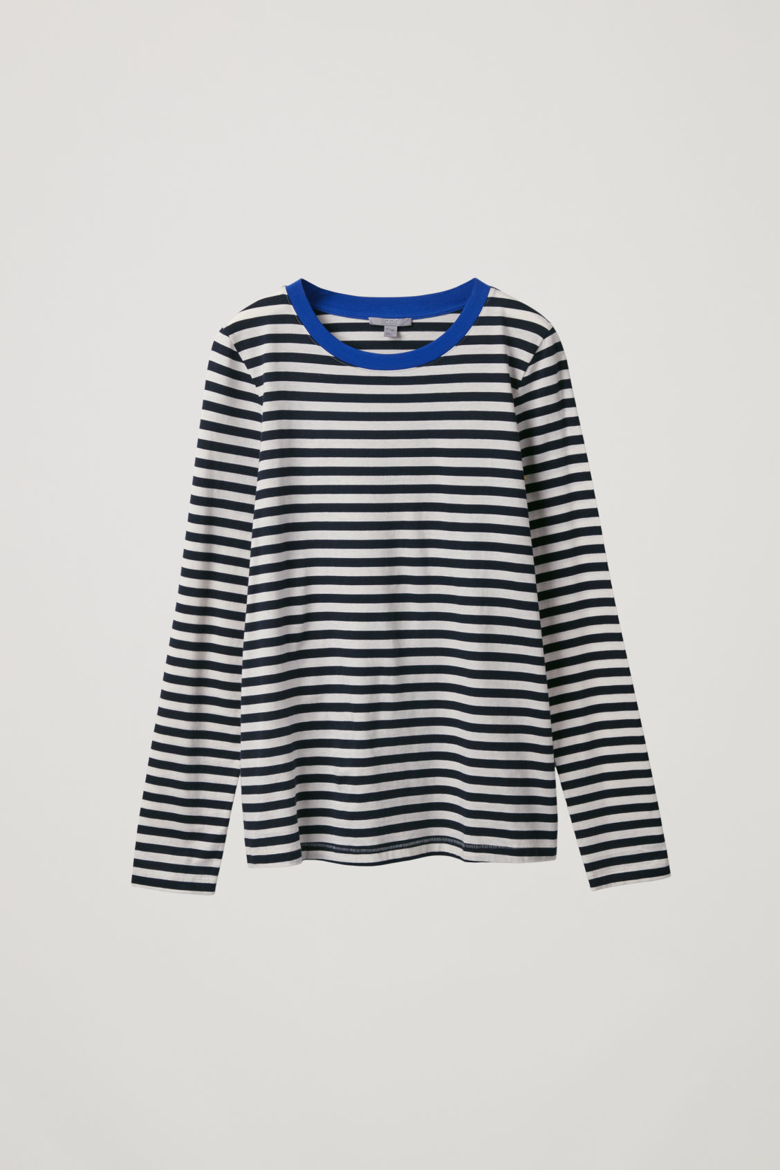 Cos Straight-hem Long-sleeved Top In Blue