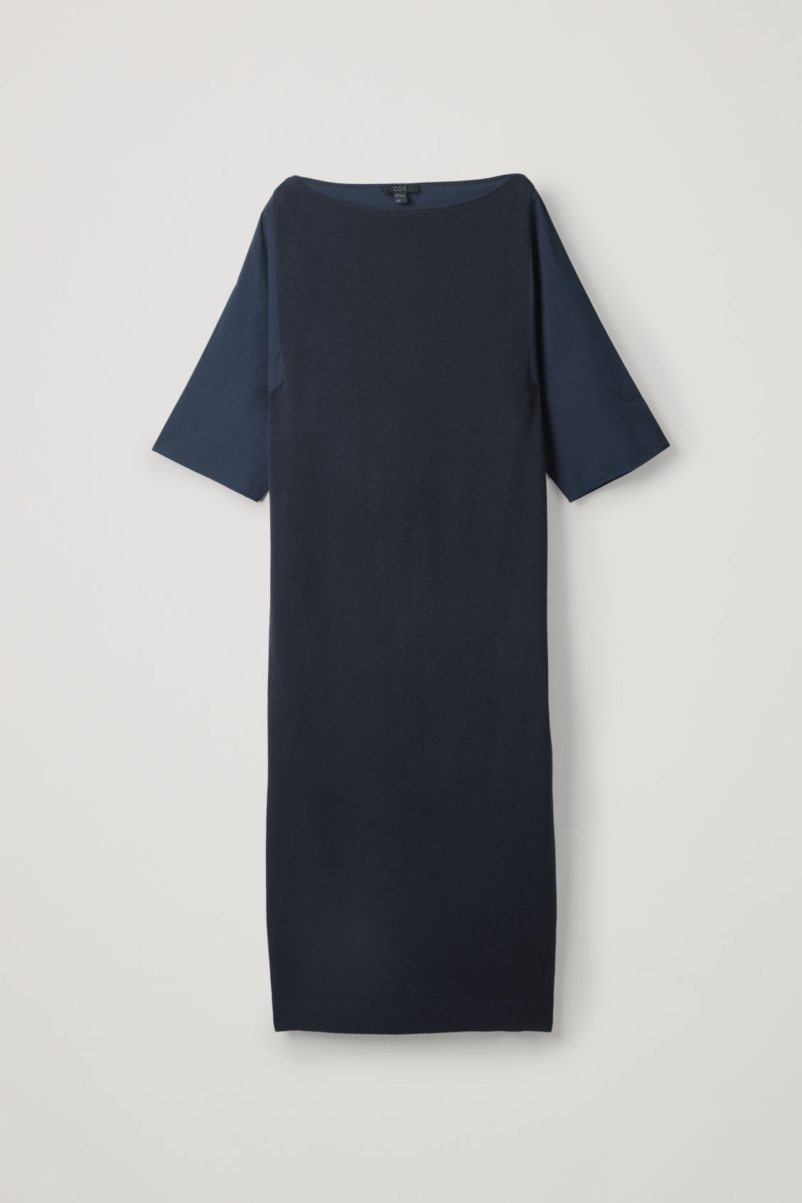 Cos Woven-knit Mix Dress In Blue