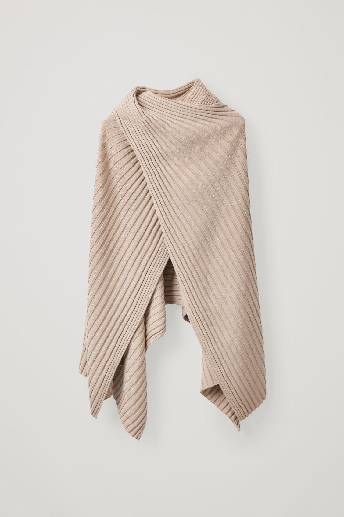 Cos Ribbed Wool Hybrid Scarf In Beige