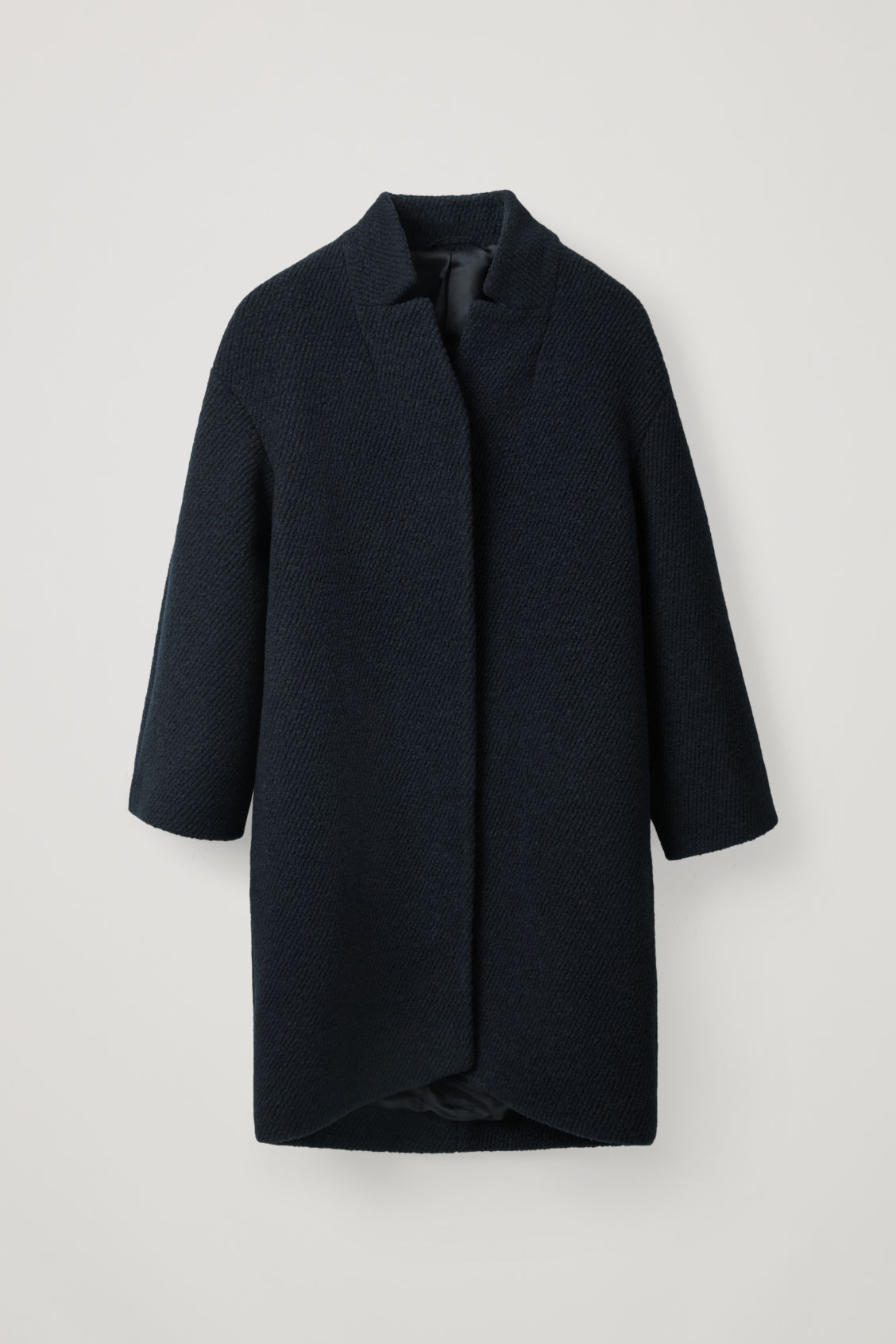 Cos Boucle-Wool Cocoon Coat In Blue