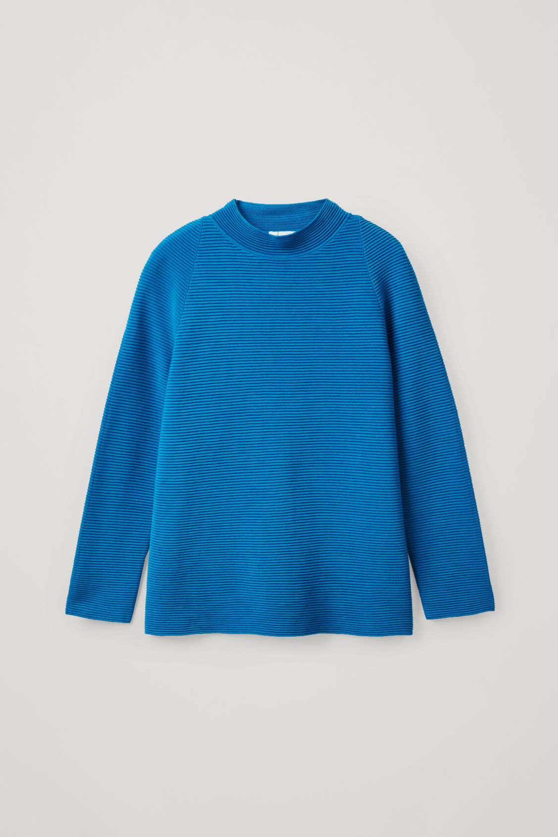 Cos Ripple-Stitch Mock Neck Top In Turquoise