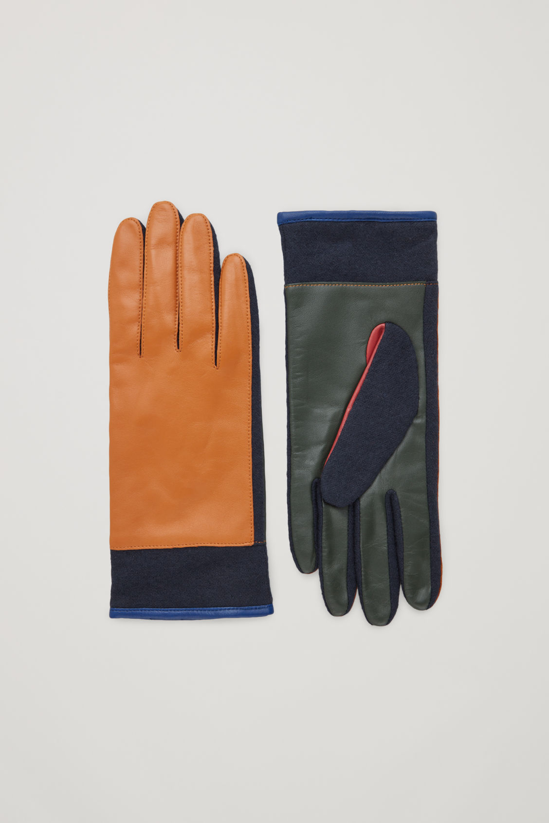 Cos Colour-block Leather Gloves In Yellow