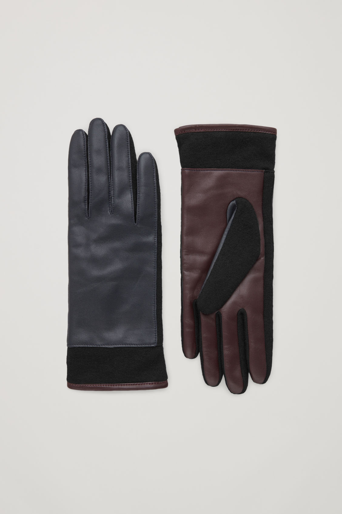 Cos Colour-block Leather Gloves In Blue