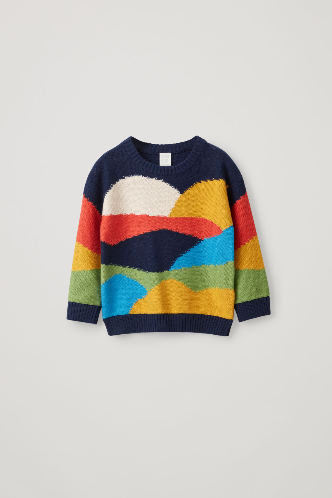 Cos Kids' Colour-block Cotton-wool Mix Jumper In Blue