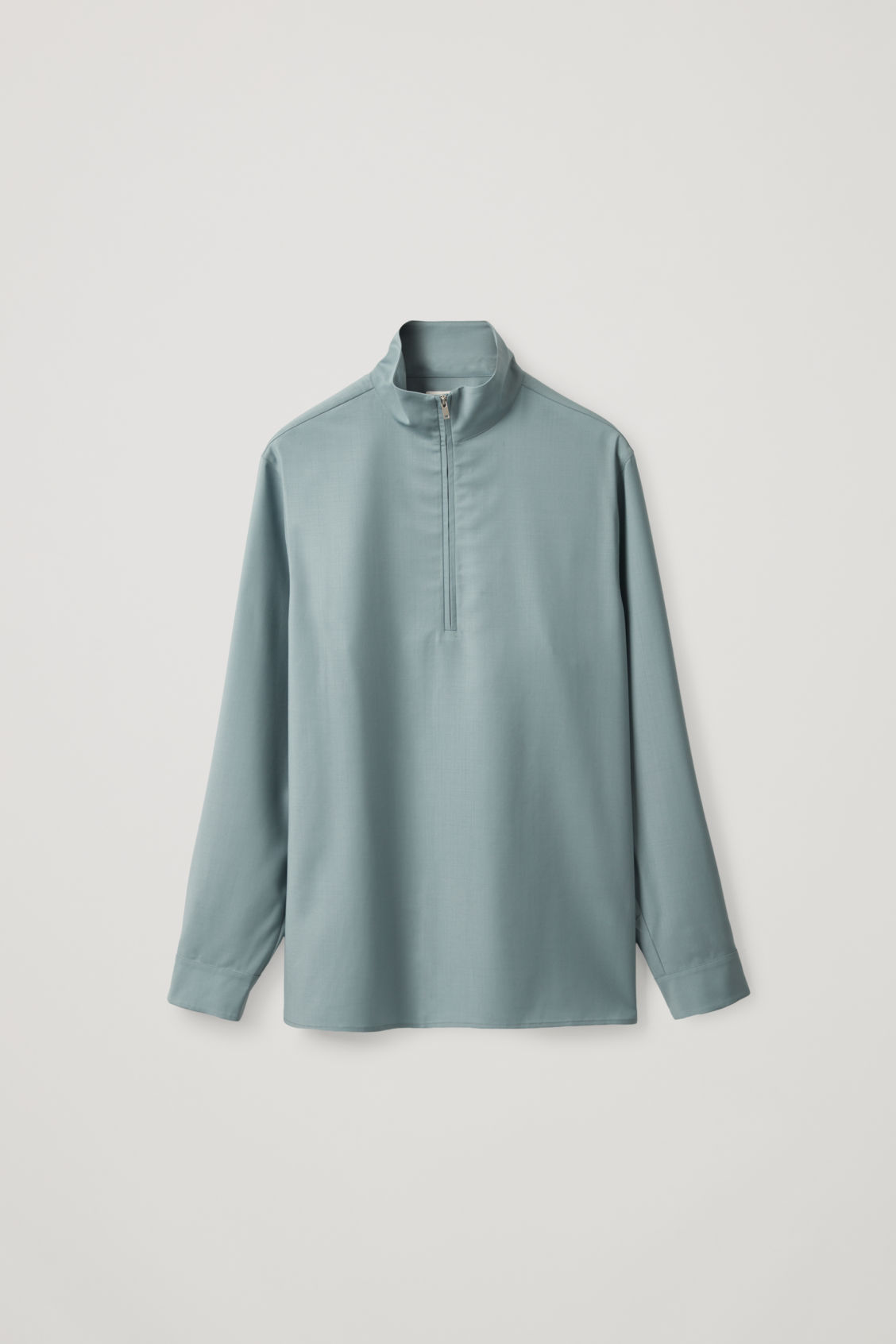 Cos Long-sleeved Half-zip Shirt In Turquoise
