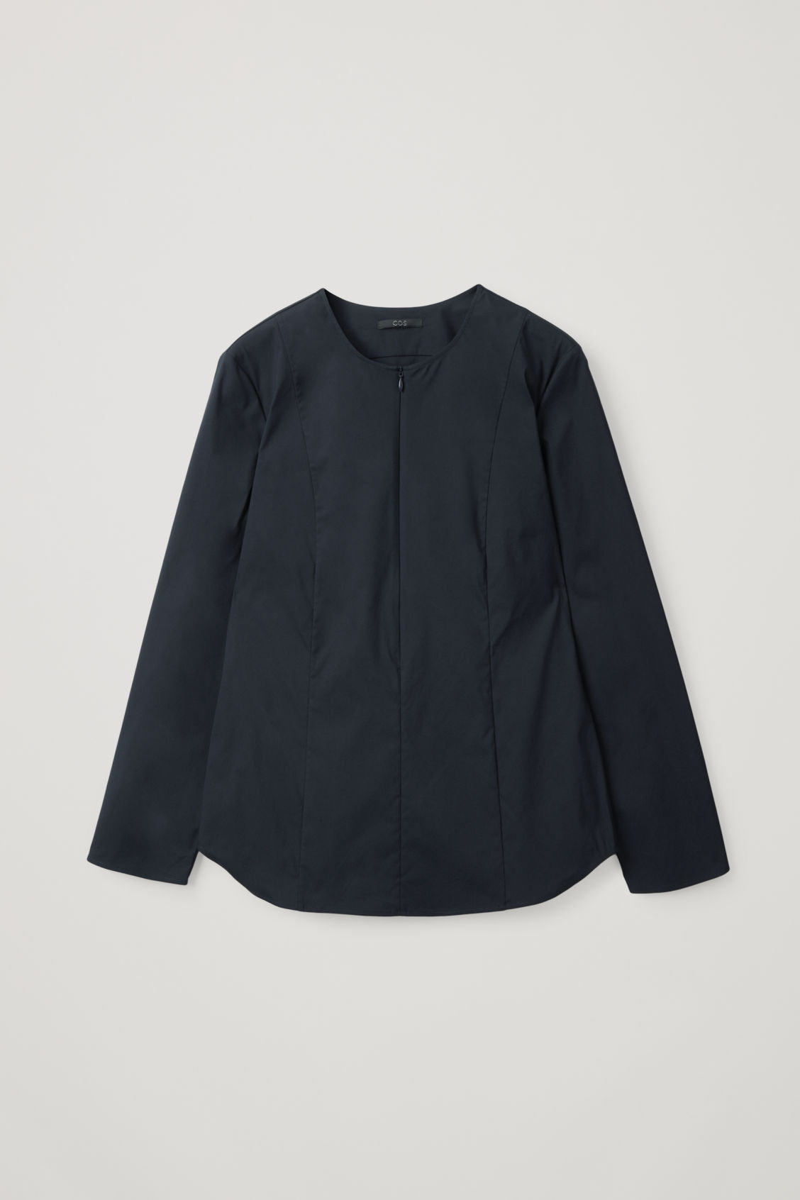 Cos Fitted Cotton-mix Shirt In Blue
