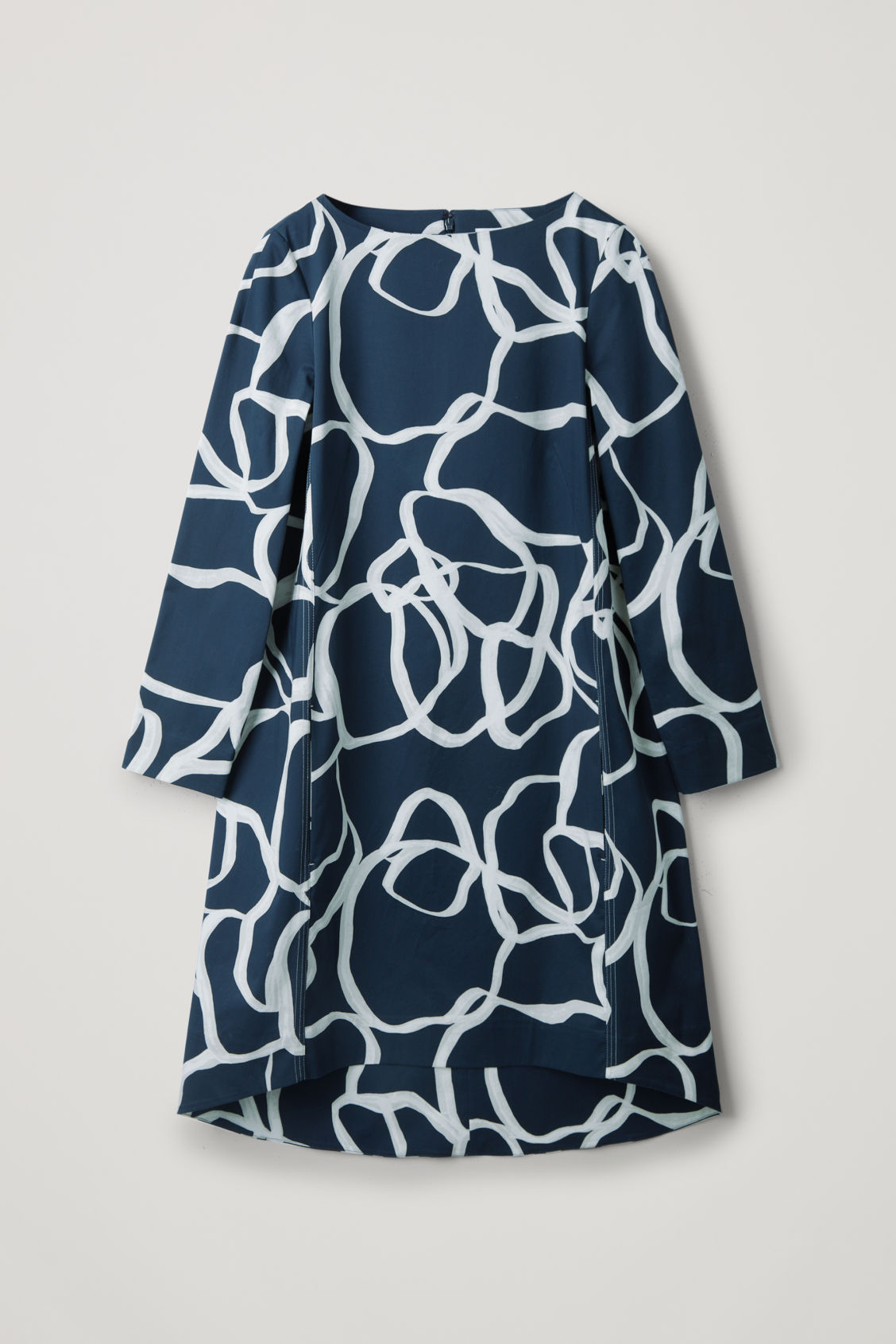 Cos Voluminous A-line Dress With Seam Details In Blue