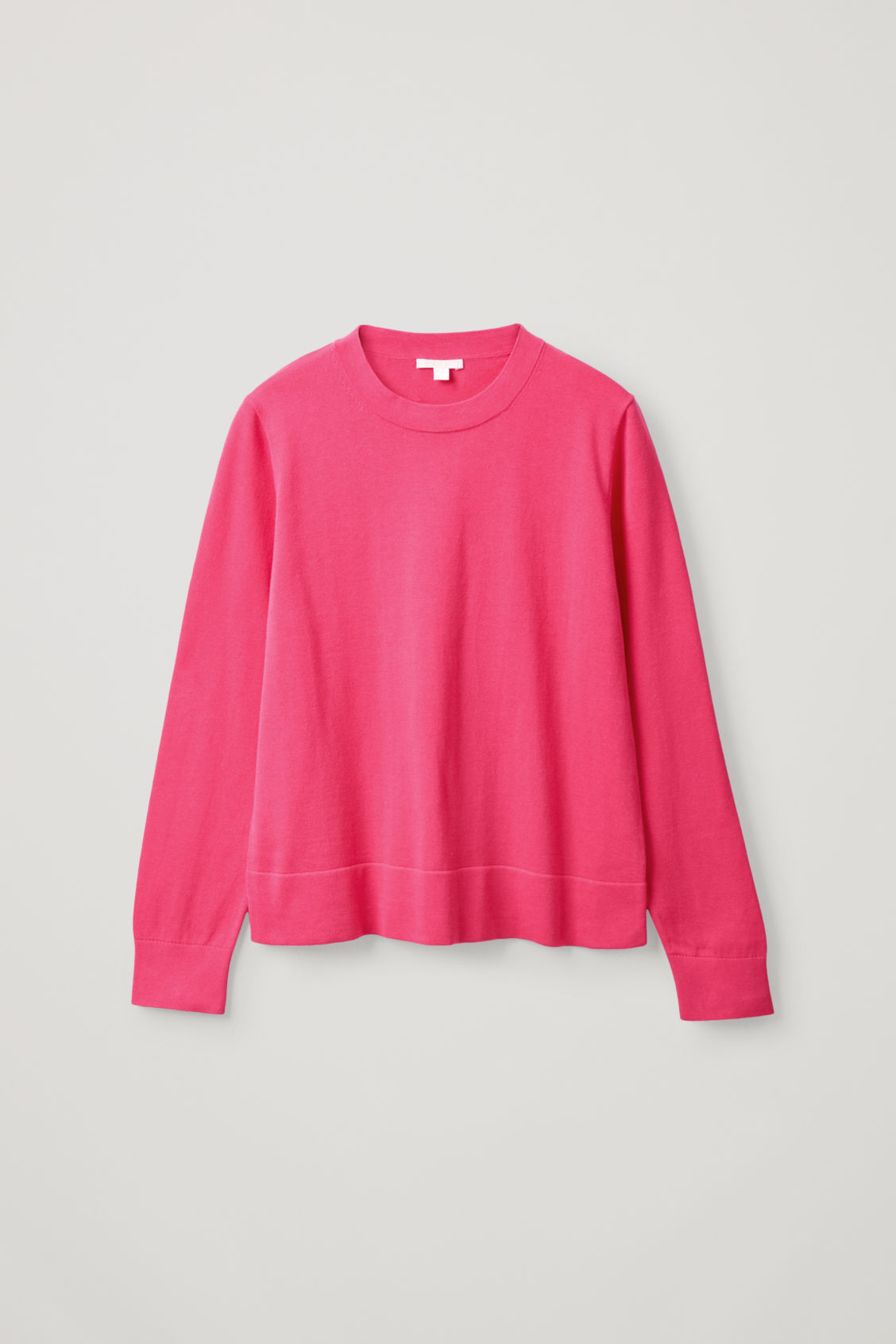 Cos Plain Knit Cotton Top In Pink