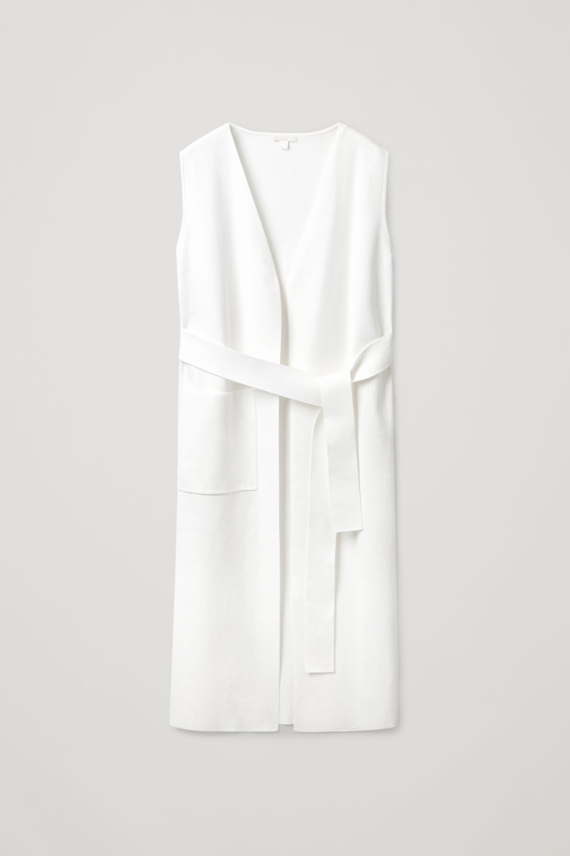 Cos Long Sleeveless Cardigan In White
