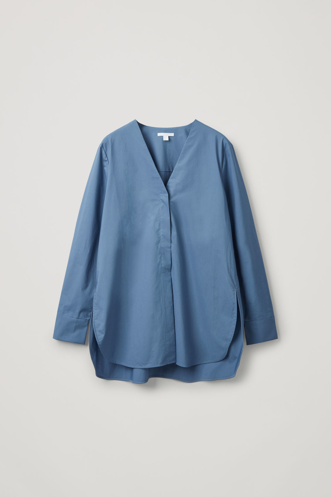 Cos Long Rounded Hem Blouse In Blue