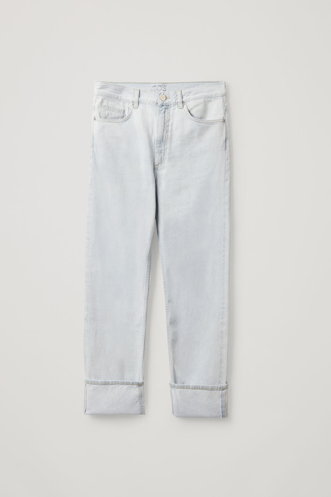 Cos Straight Organic Cotton Turn-up Jeans In Blue