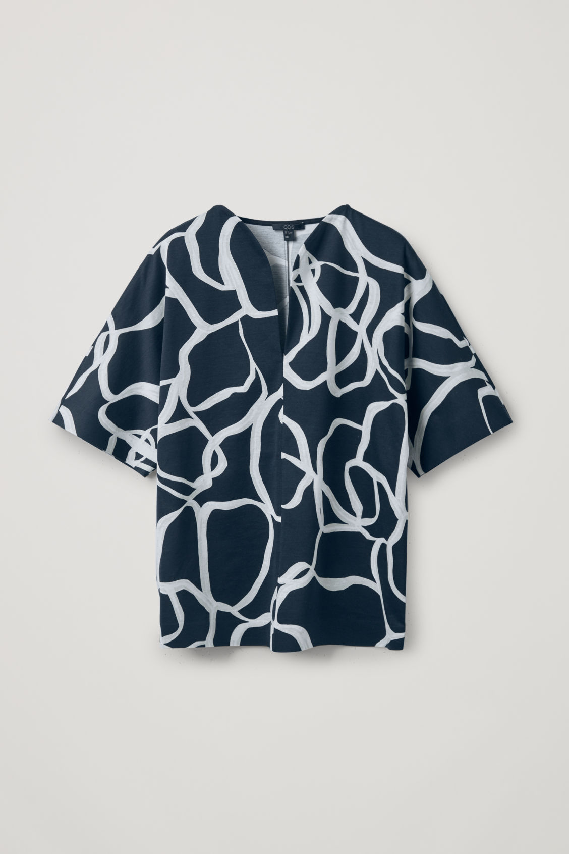 Cos Printed Top With Rounded Neck In Black