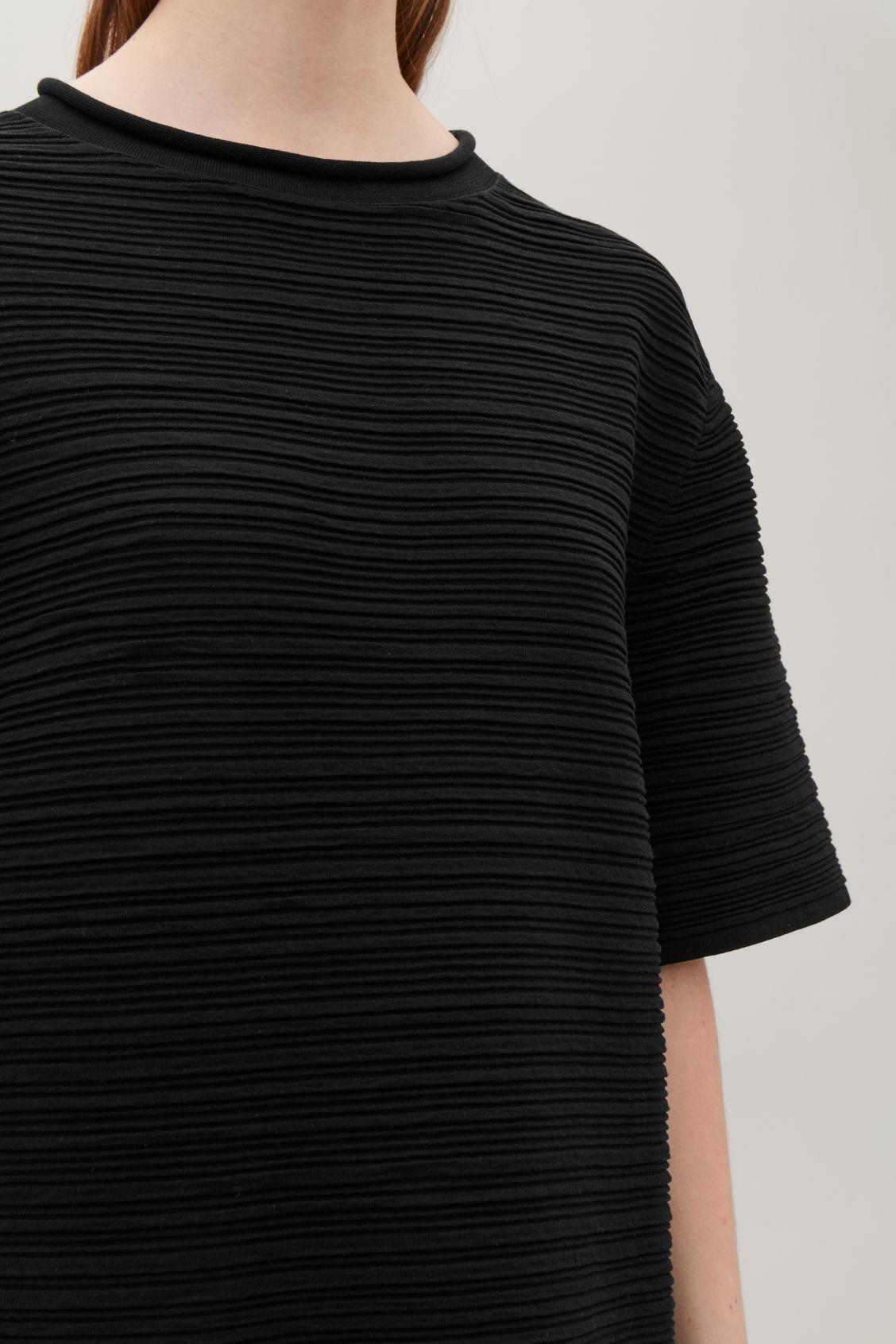 RIPPLED COTTON T-SHIRT DRESS - Black - Dresses - COS