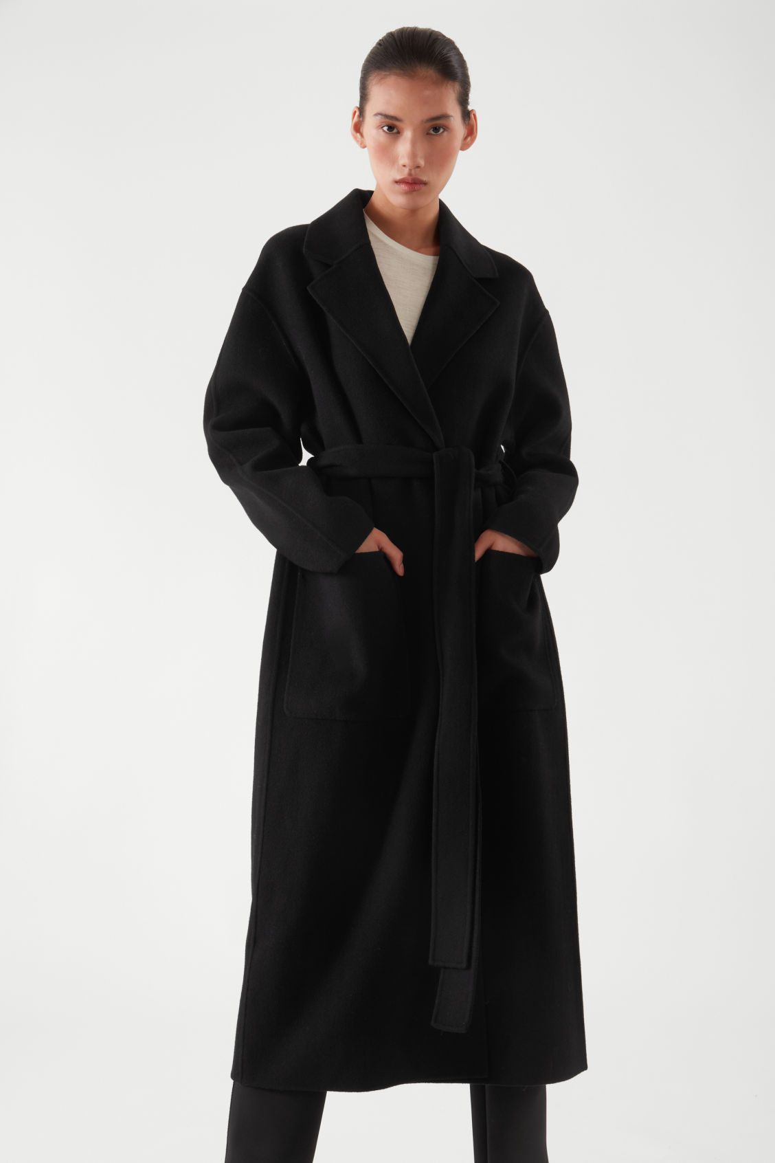 코스 코트 COS BELTED WRAP COAT,BLACK