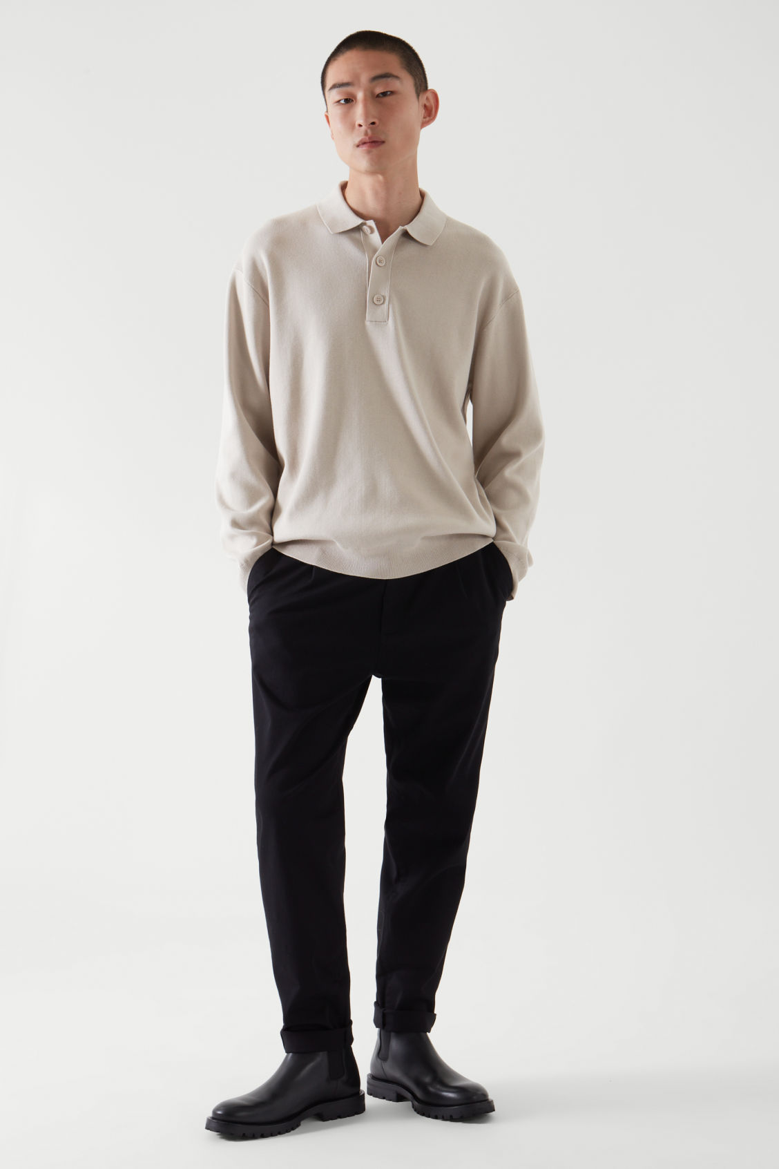 COS RELAXED-FIT KNITTED POLO SHIRT,LIGHT BEIGE