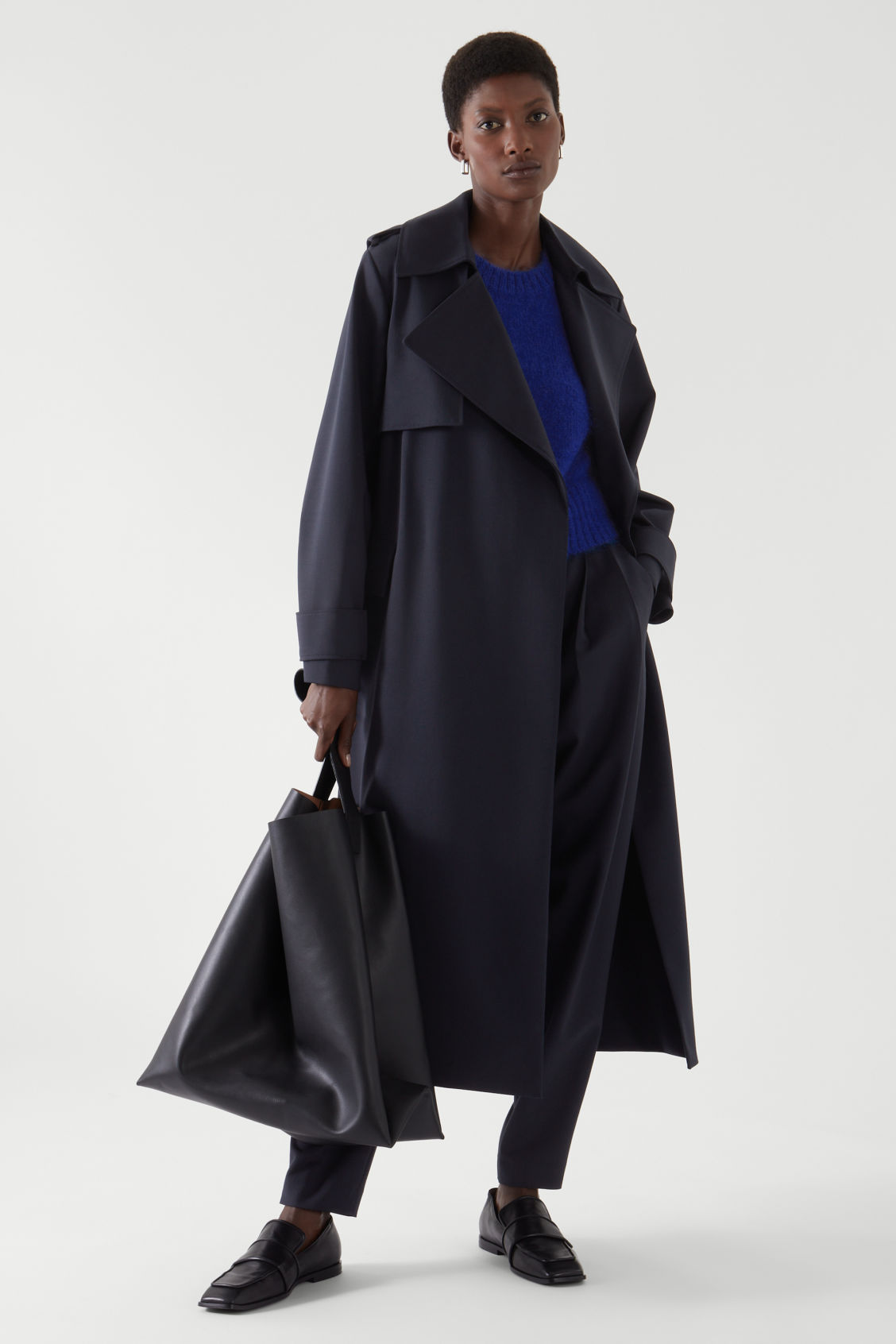 COS DOUBLE-BREASTED TRENCH COAT,navy