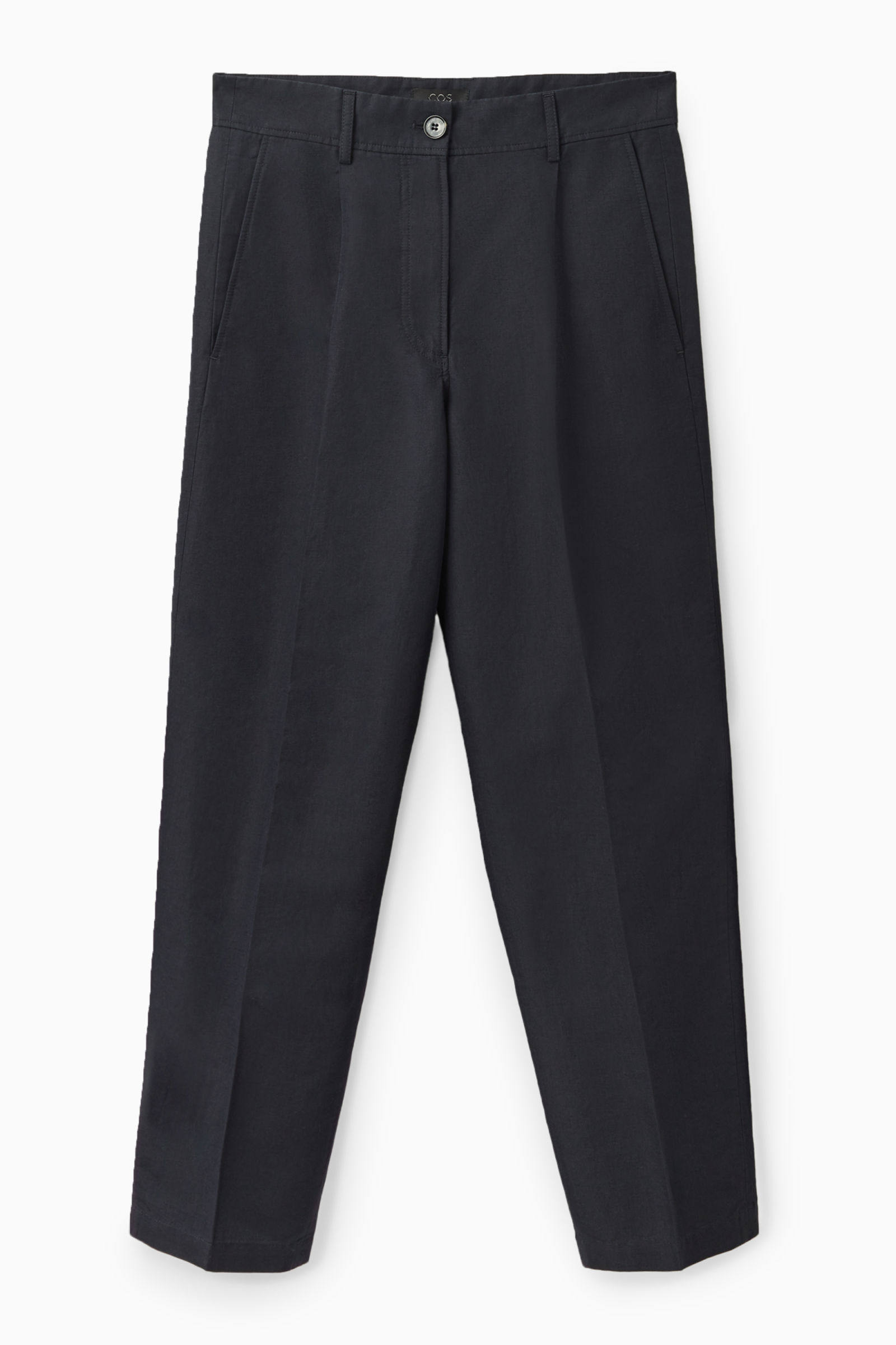 COS LINEN TROUSERS,navy