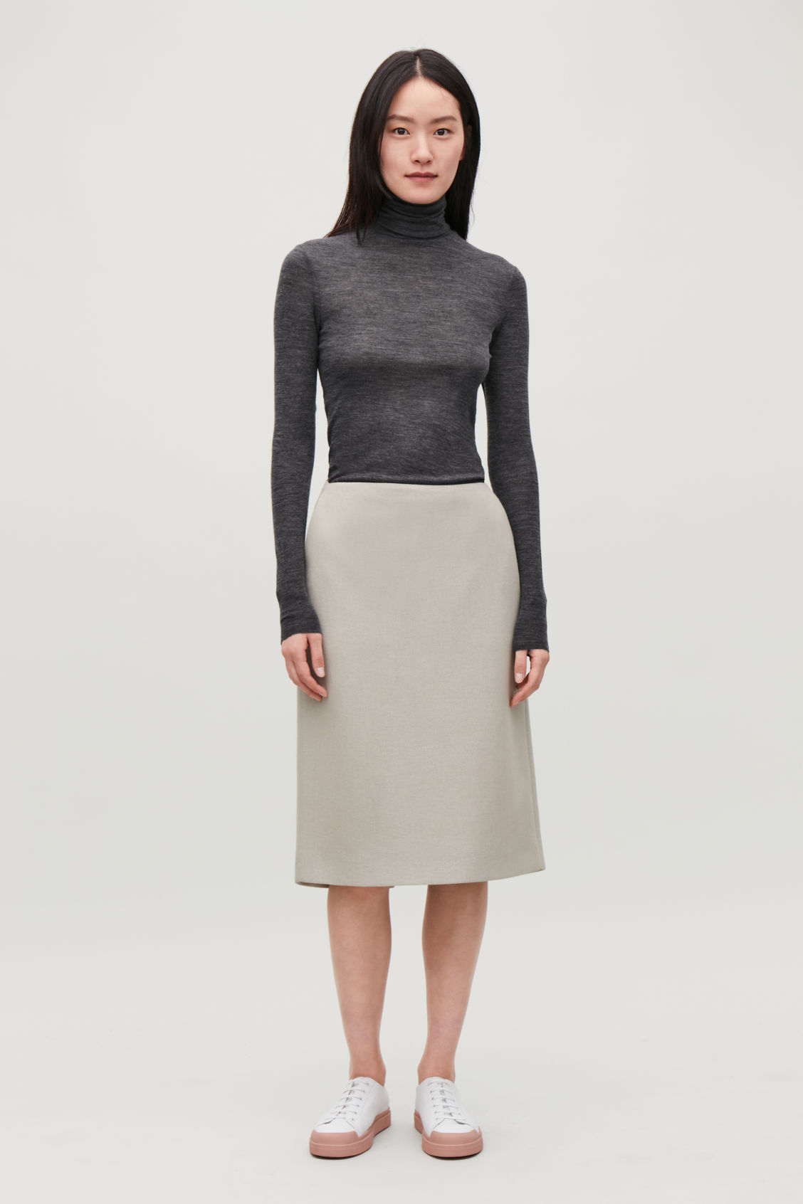 Model front image of Cos fine roll-neck wool top in grey