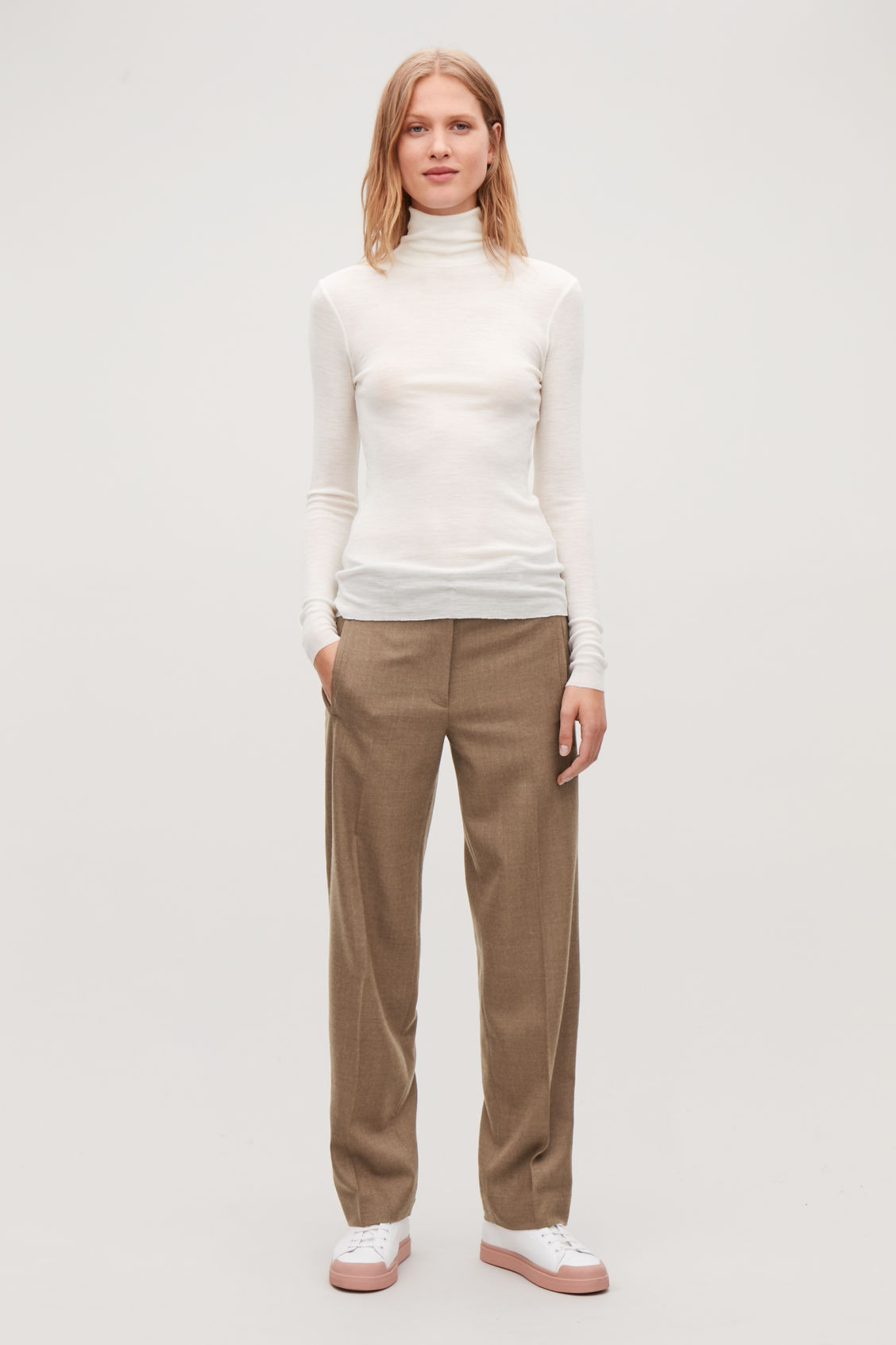 Model front image of Cos fine roll-neck wool top in white