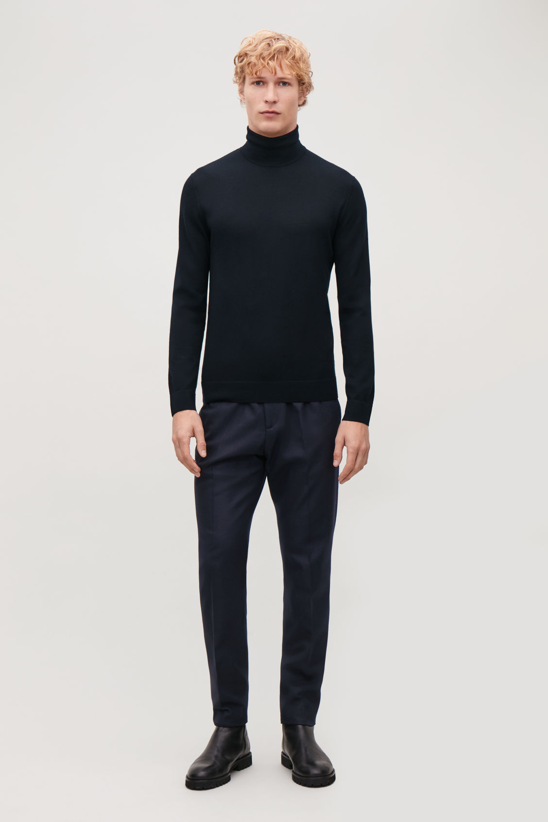 Model front image of Cos merino roll-neck jumper in blue
