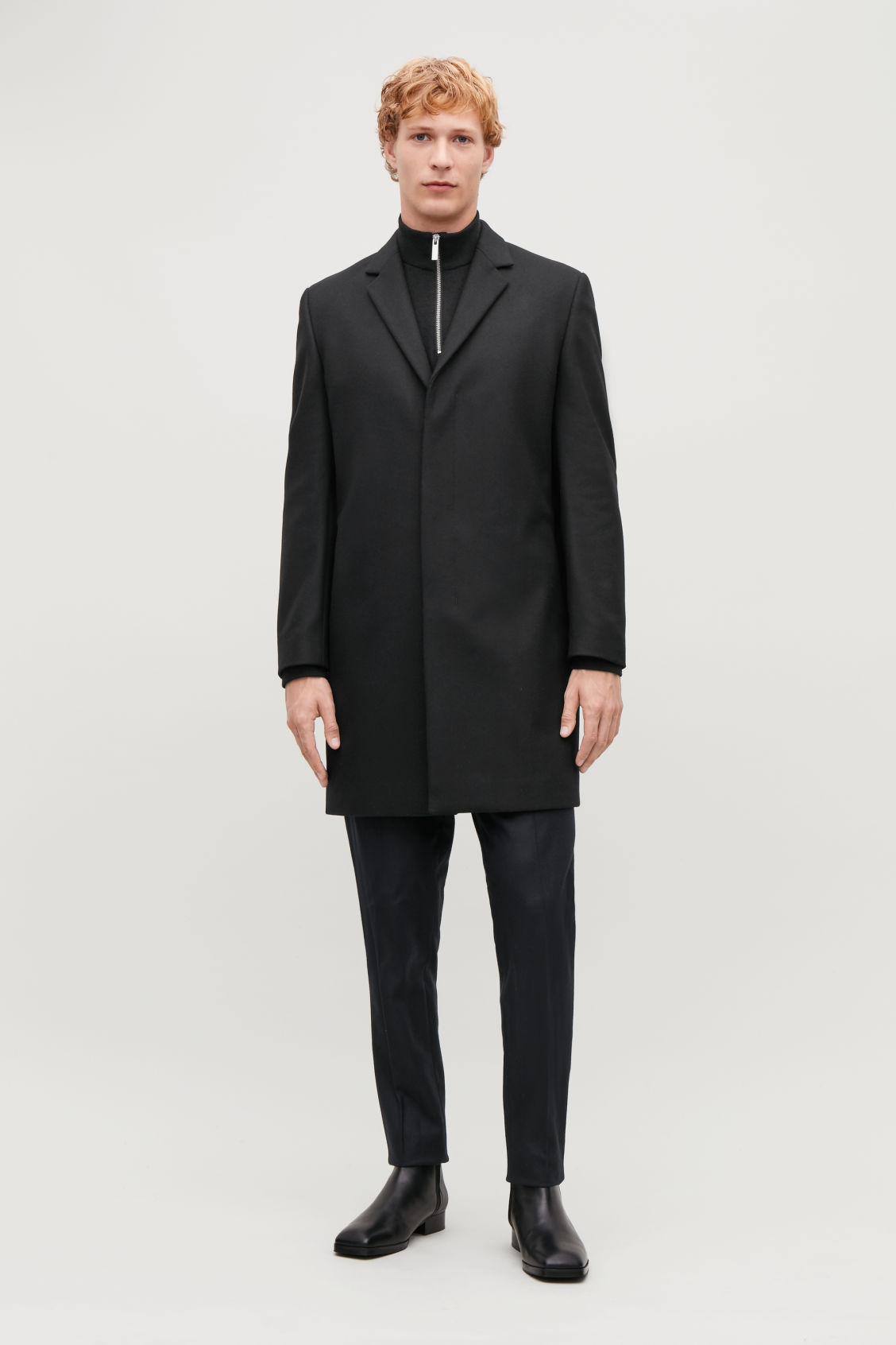 Model front image of Cos tailored coat in black