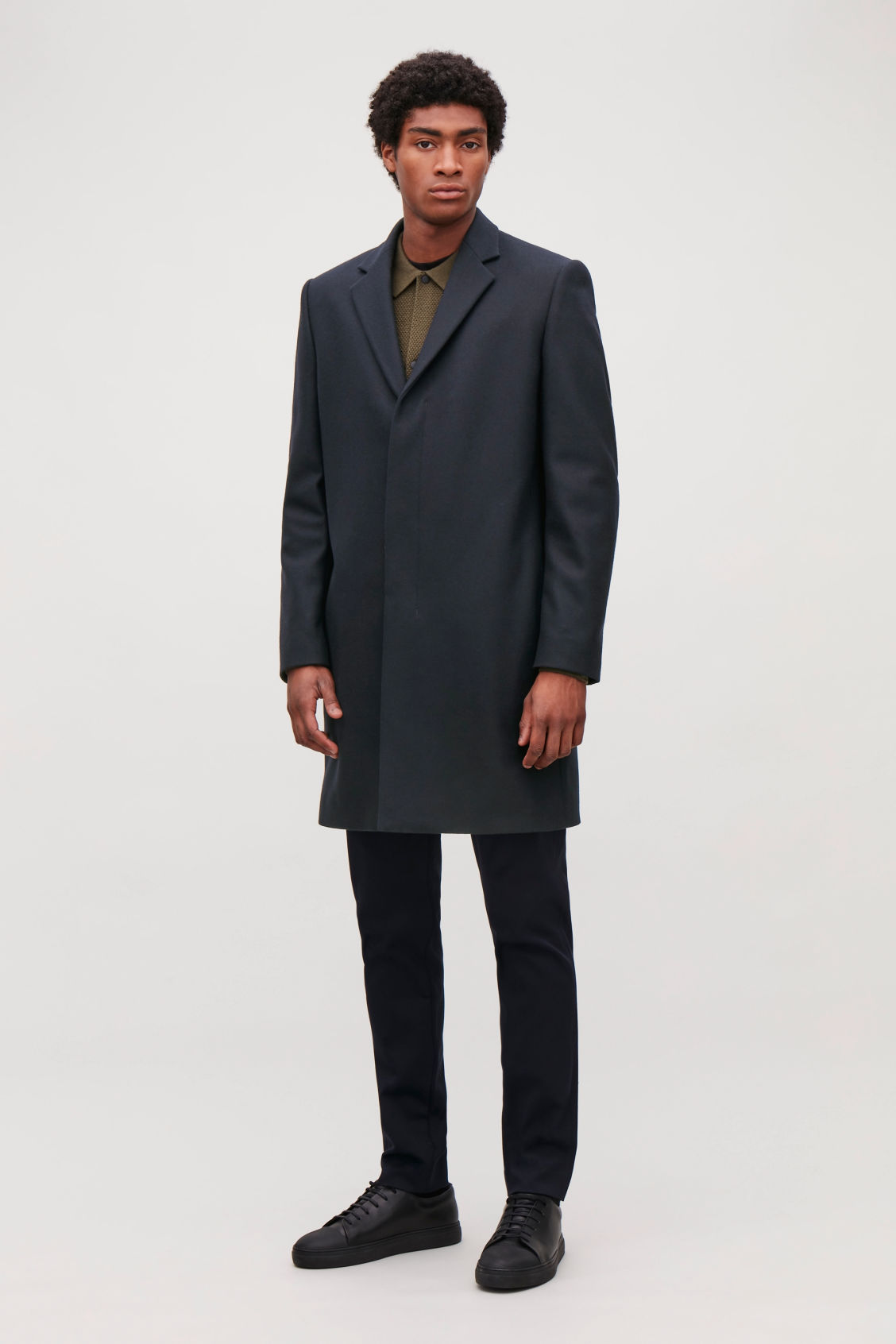 Model front image of Cos tailored coat in blue