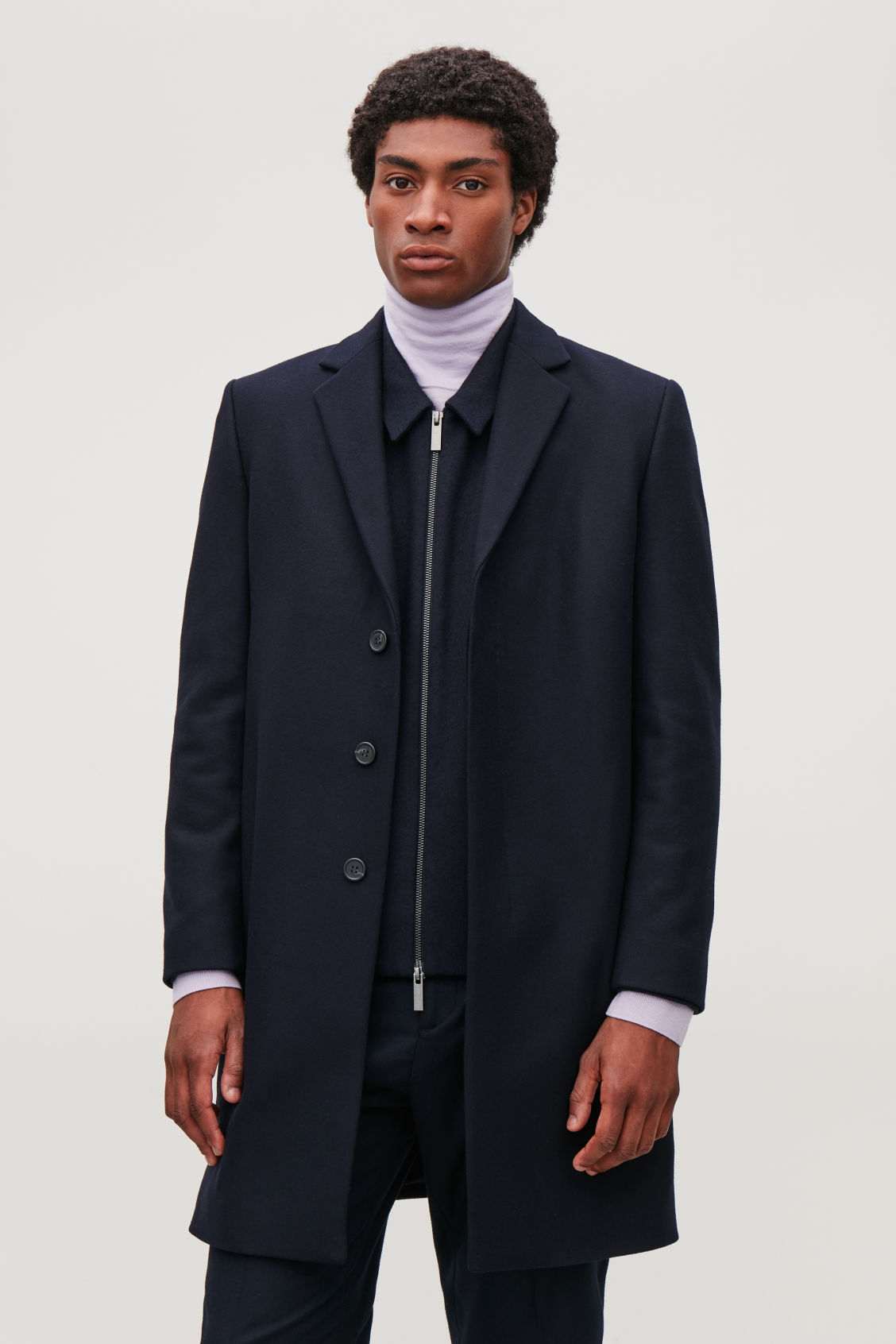 Model side image of Cos tailored coat in blue