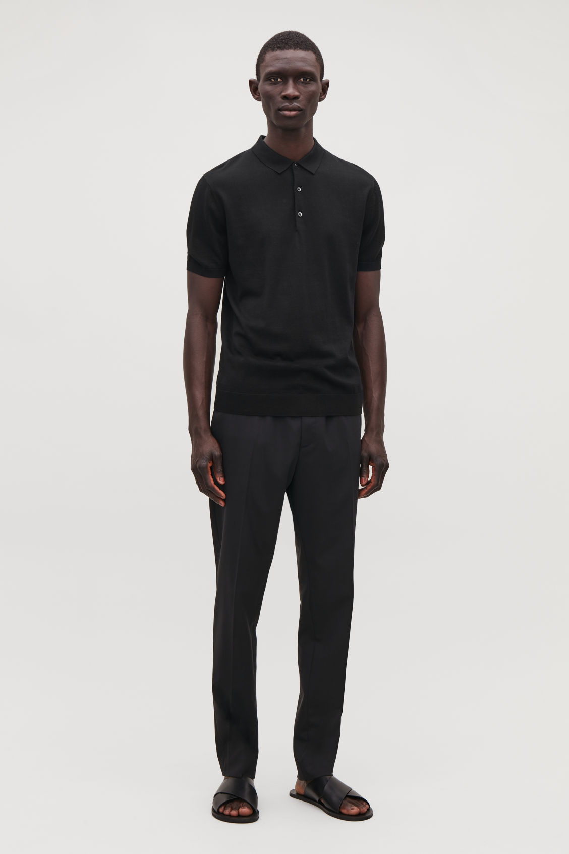 Model front image of Cos silk-cotton polo shirt in black
