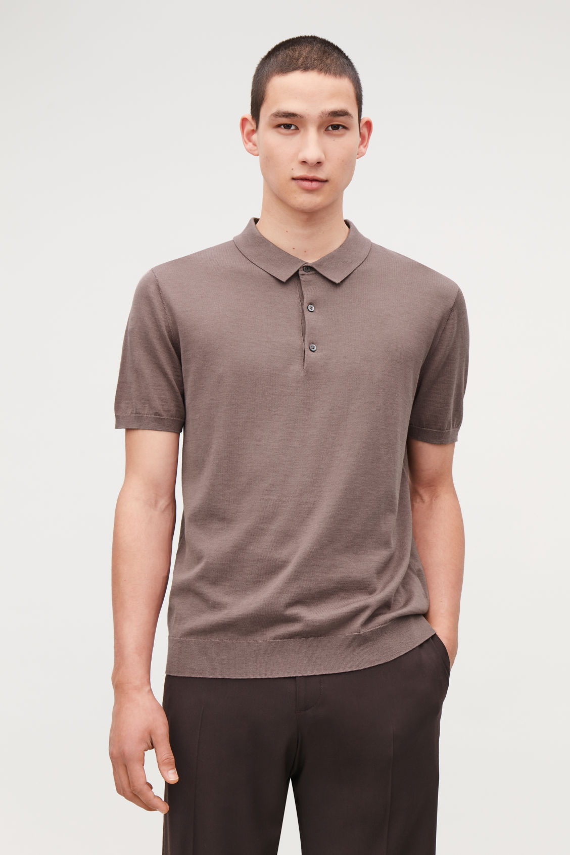 Model side image of Cos silk-cotton polo shirt in purple