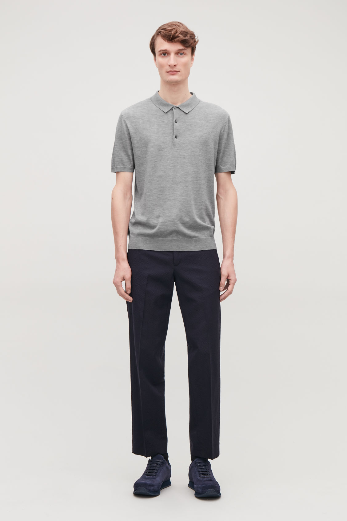 Model front image of Cos silk-cotton polo shirt in grey