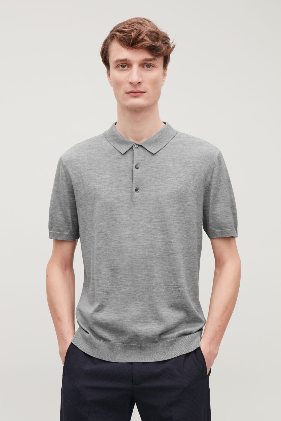 Model side image of Cos silk-cotton polo shirt in grey