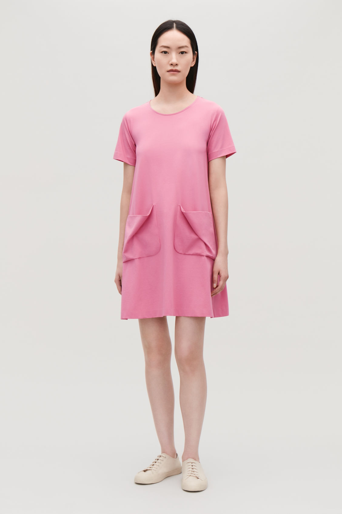 Model Front Image Of Cos A Line Jersey Dress In Pink