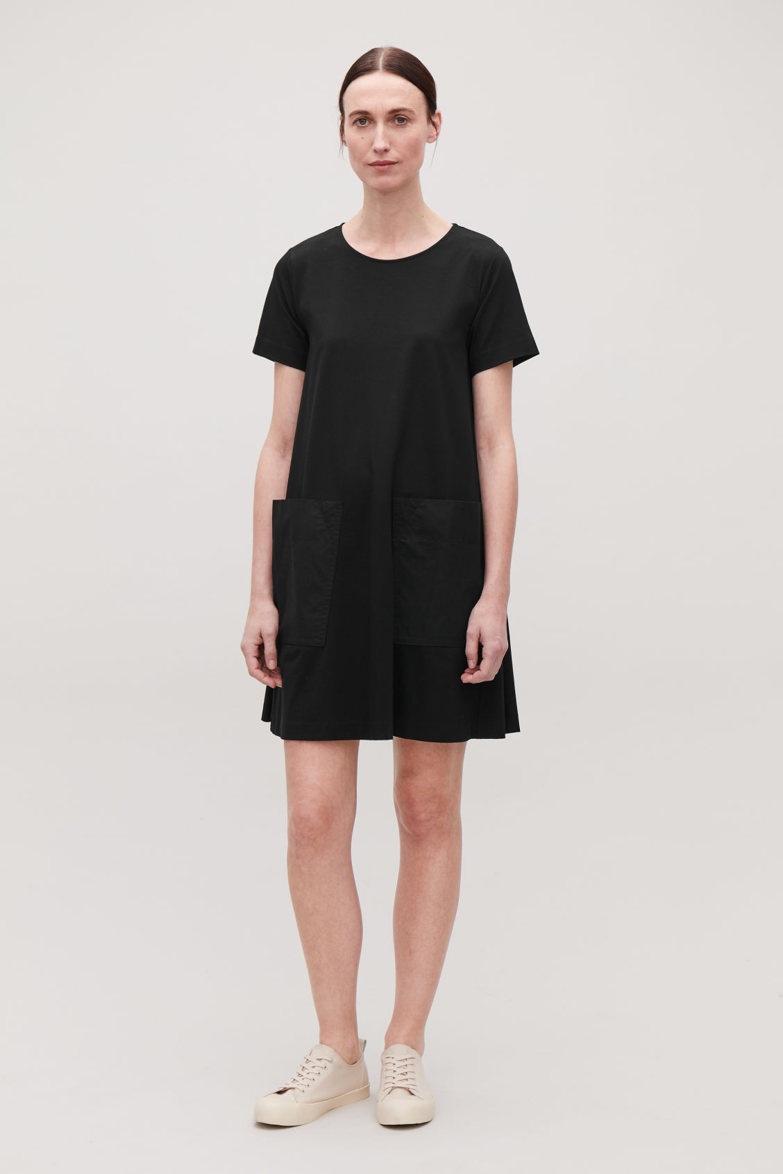 Model front image of Cos a-line jersey dress in black