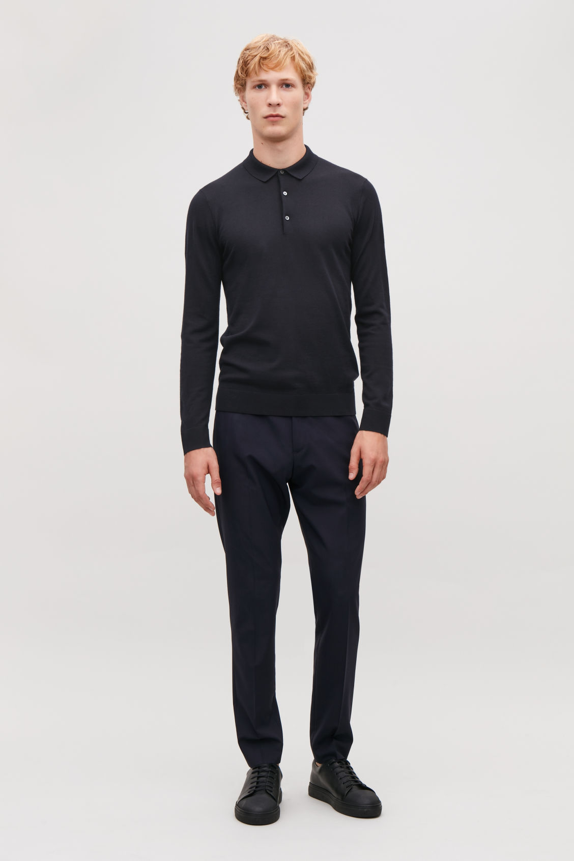 Model front image of Cos merino polo-neck jumper  in blue