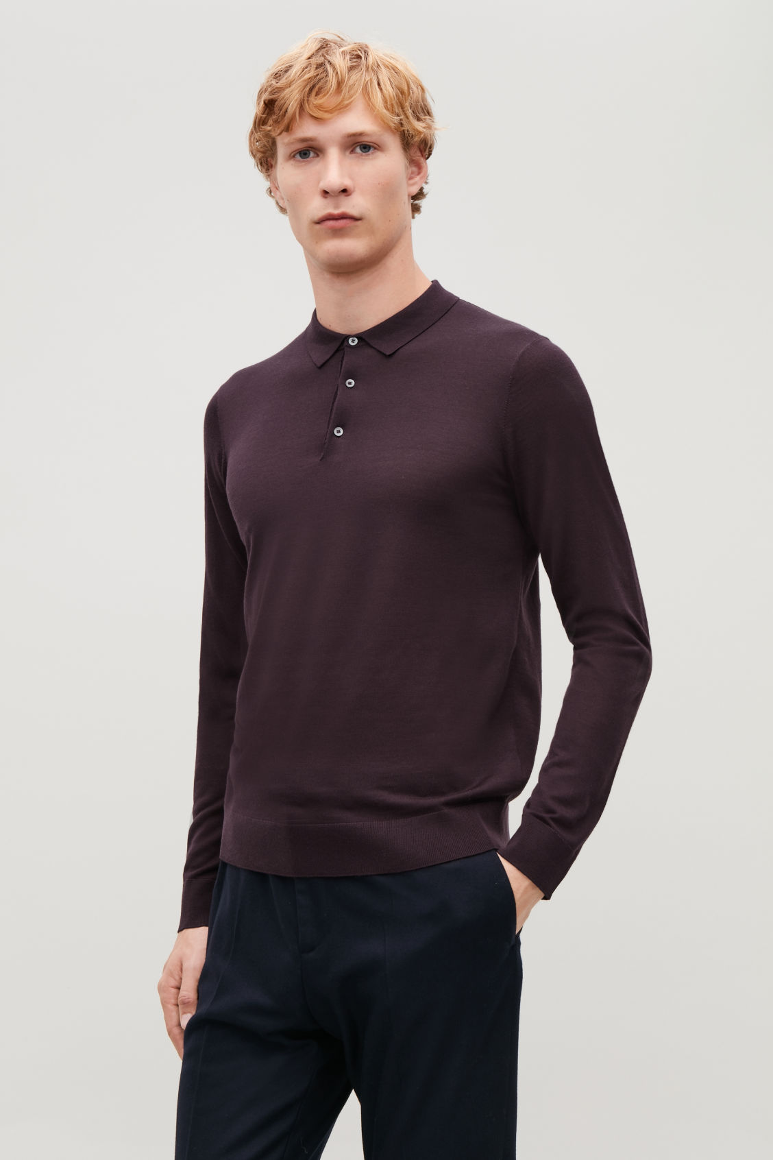 Model side image of Cos merino polo-neck jumper in red