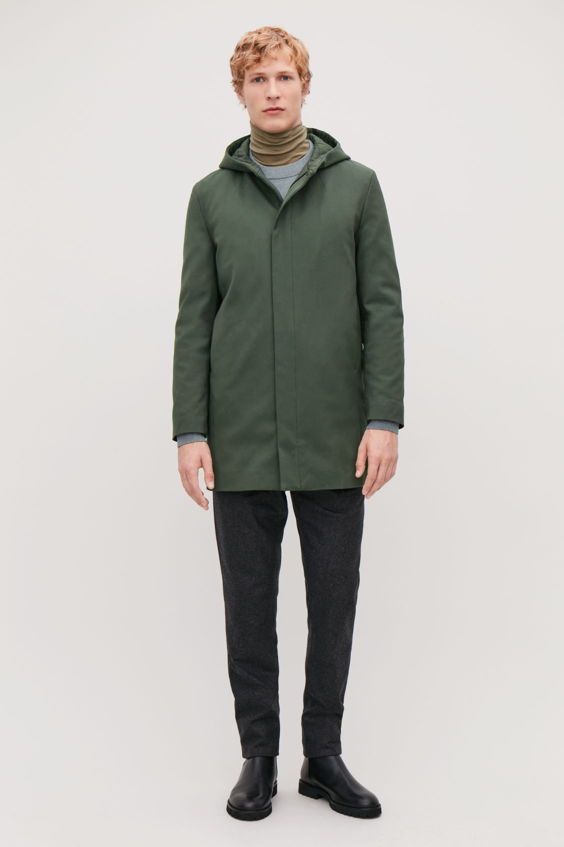 Model front image of Cos padded cotton parka in green