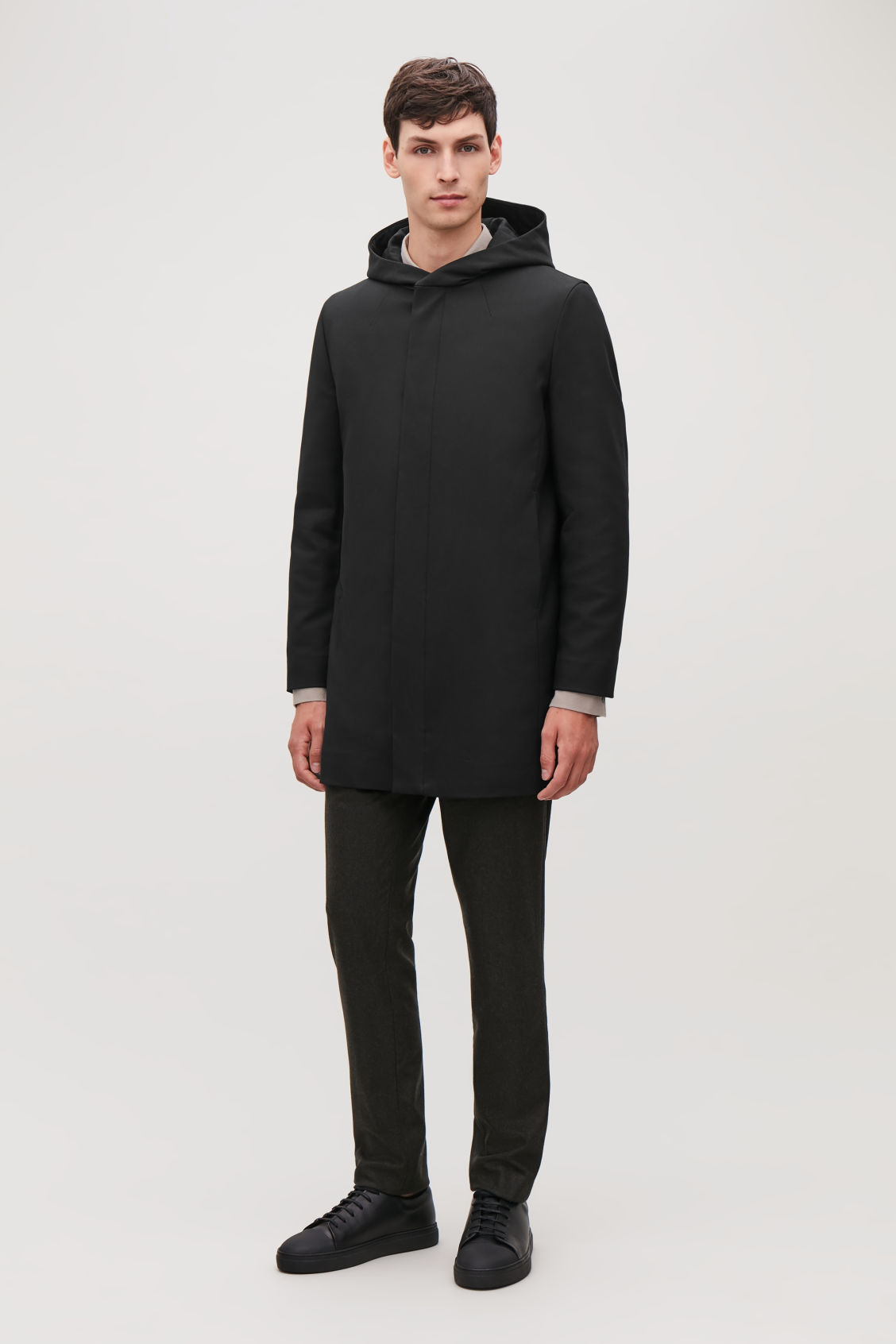 Model front image of Cos padded cotton parka in black