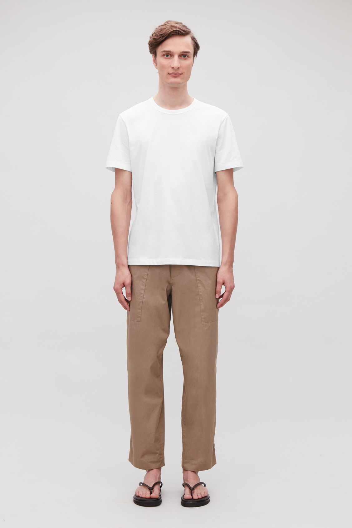 Model front image of Cos brushed cotton t-shirt in white