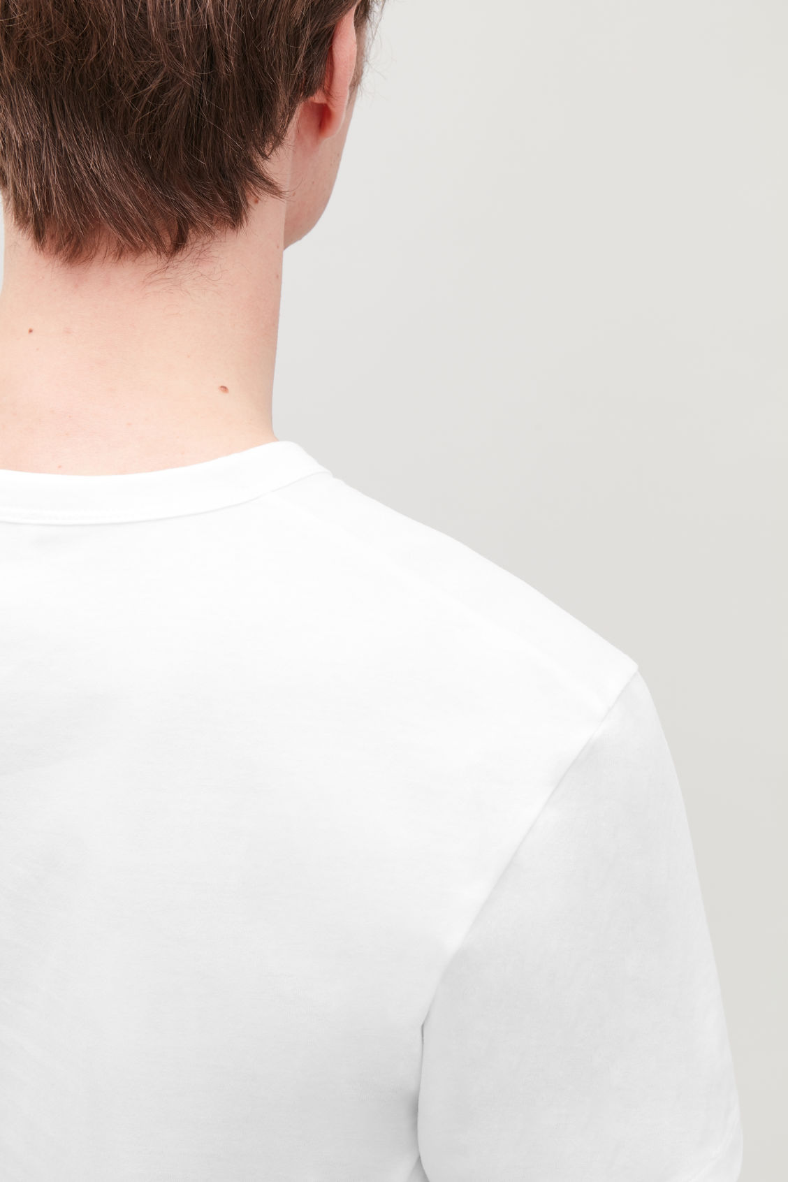 Model side image of Cos brushed cotton t-shirt in white