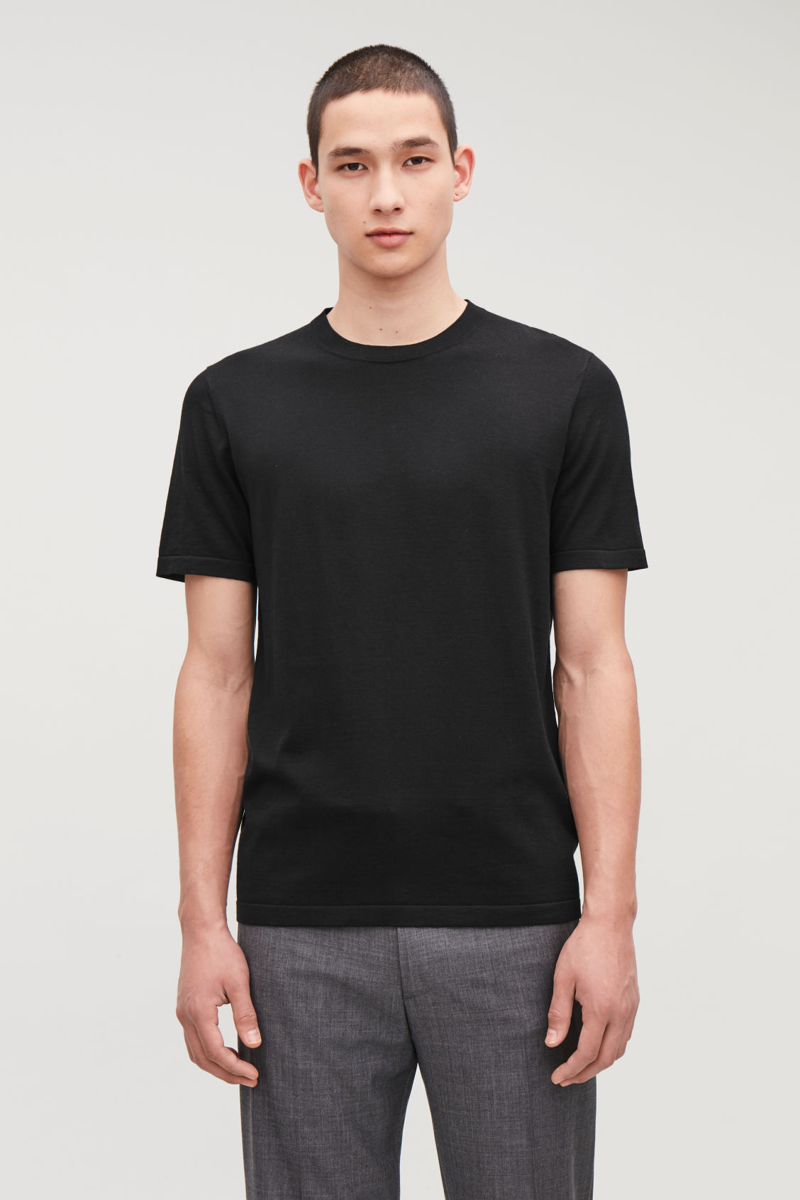 Model side image of Cos knitted silk-cotton t-shirt in black