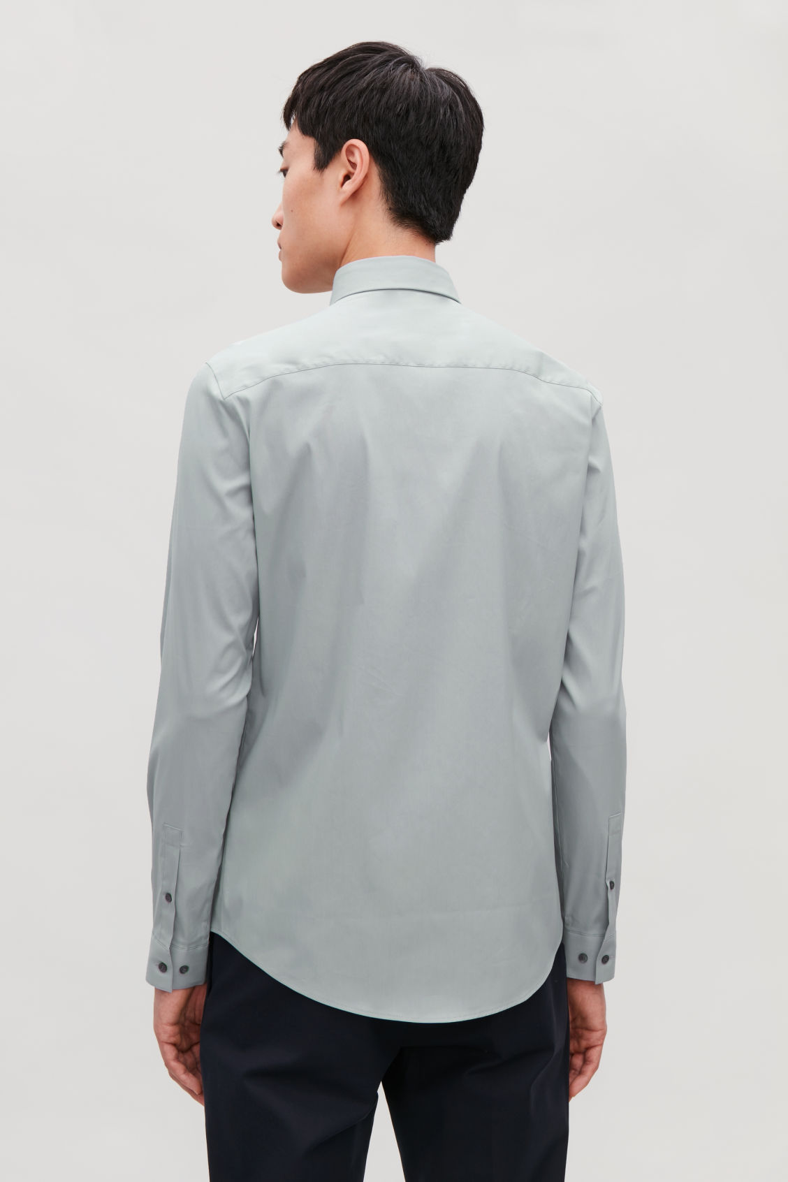 Model side image of Cos slim-fit cotton shirt in grey