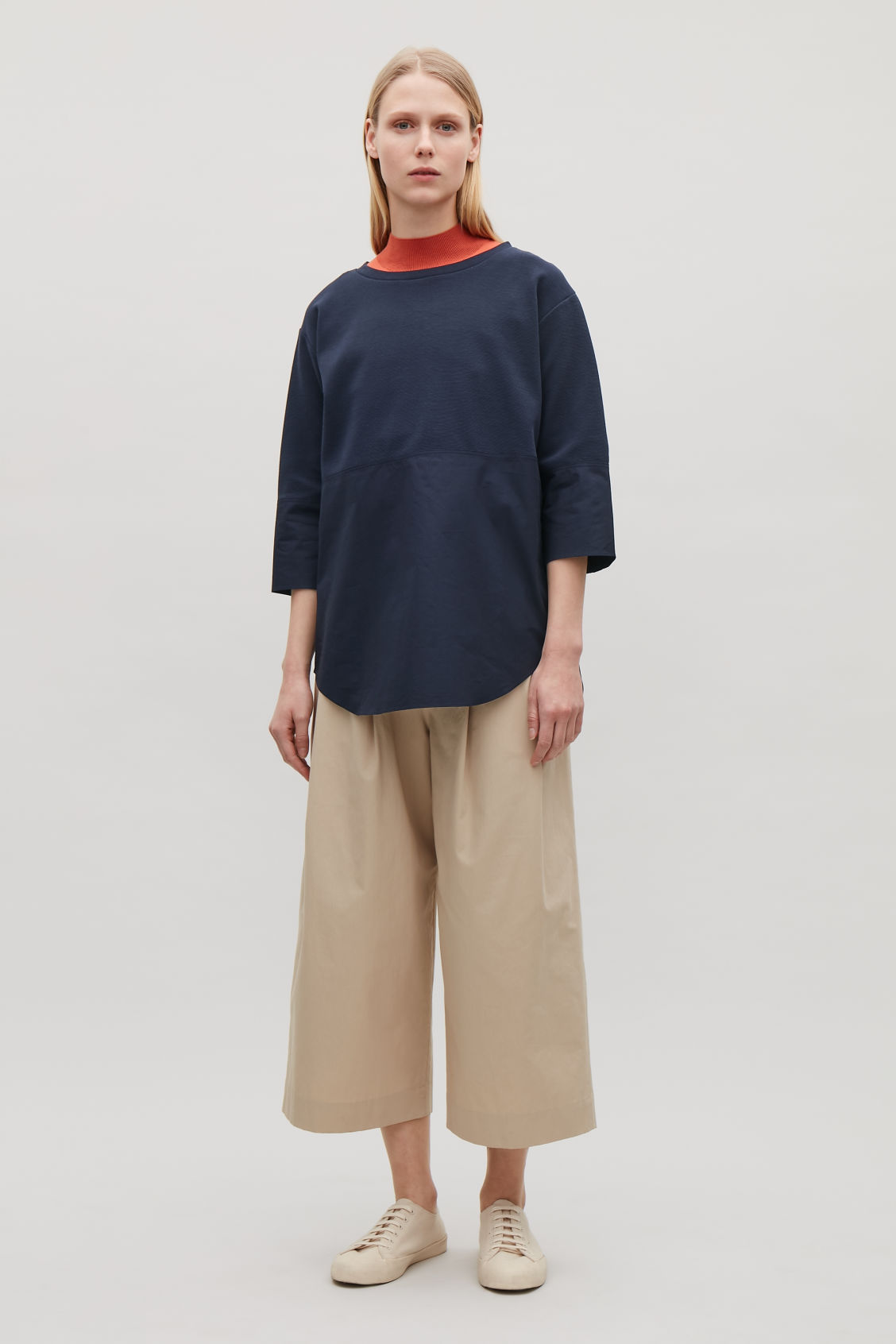Model front image of Cos jumper with shirt hem in blue