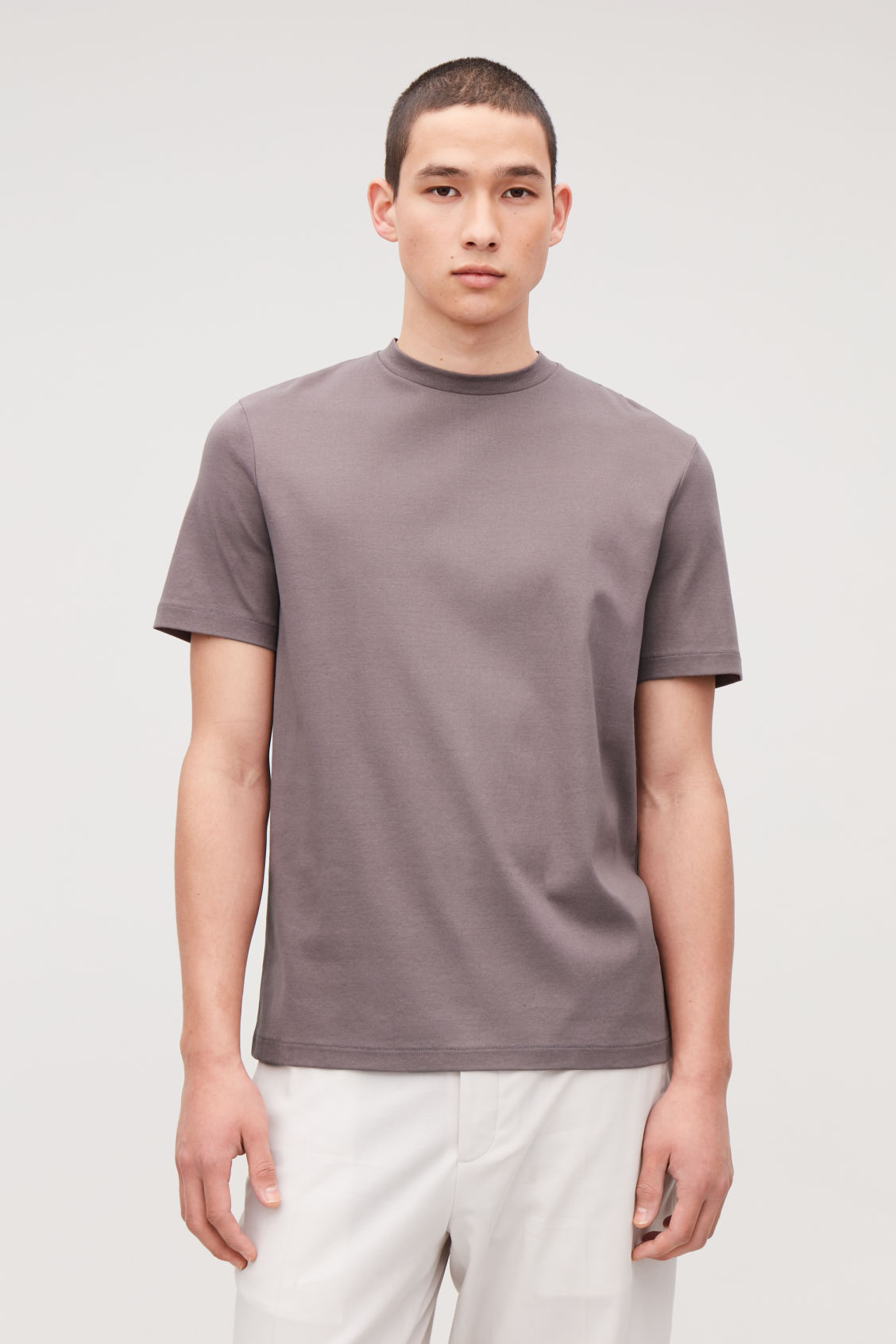 Model side image of Cos t-shirt with mock neck in purple