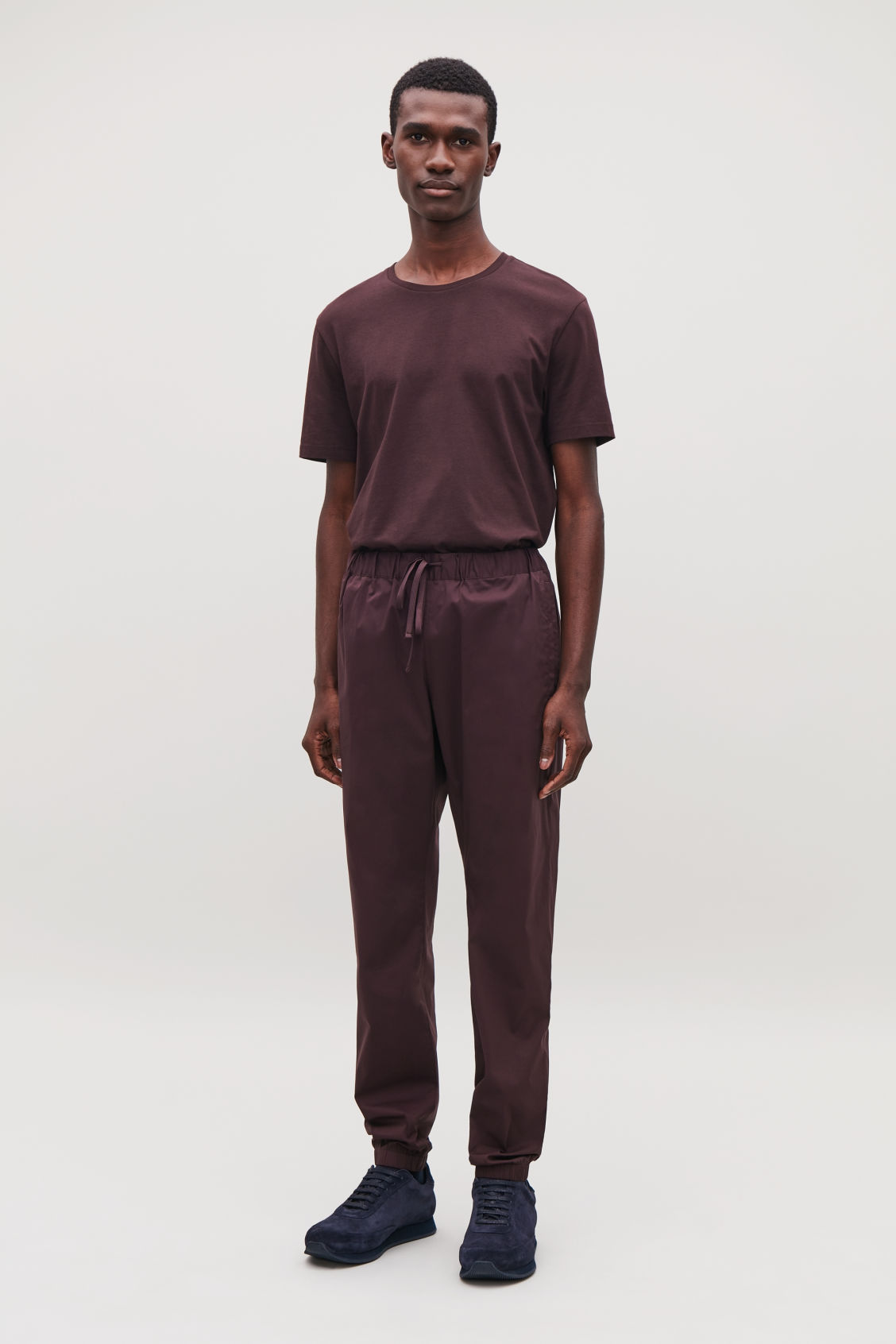 Model front image of Cos elastic-waist cotton trousers in red