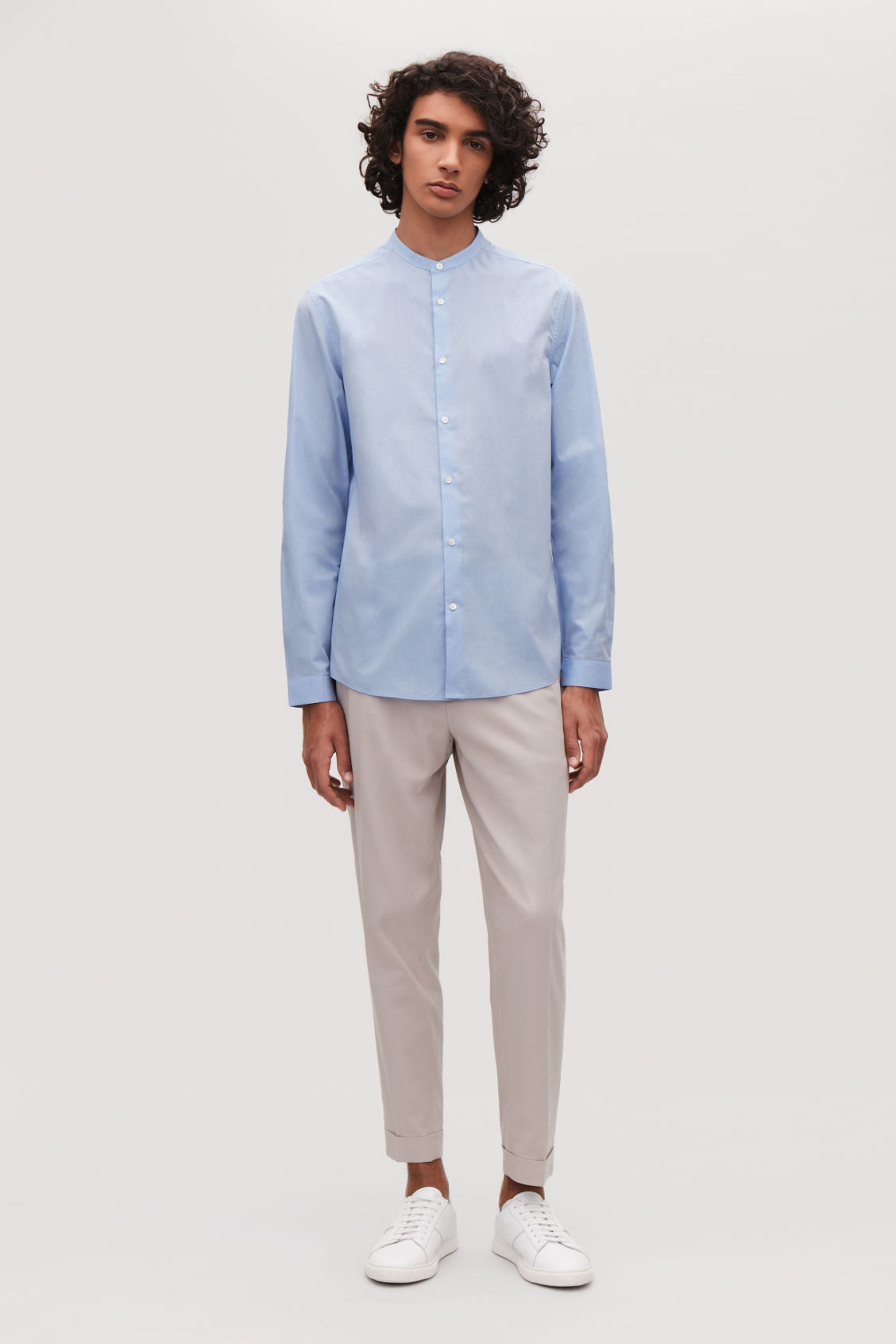 Model front image of Cos collarless cotton shirt in blue