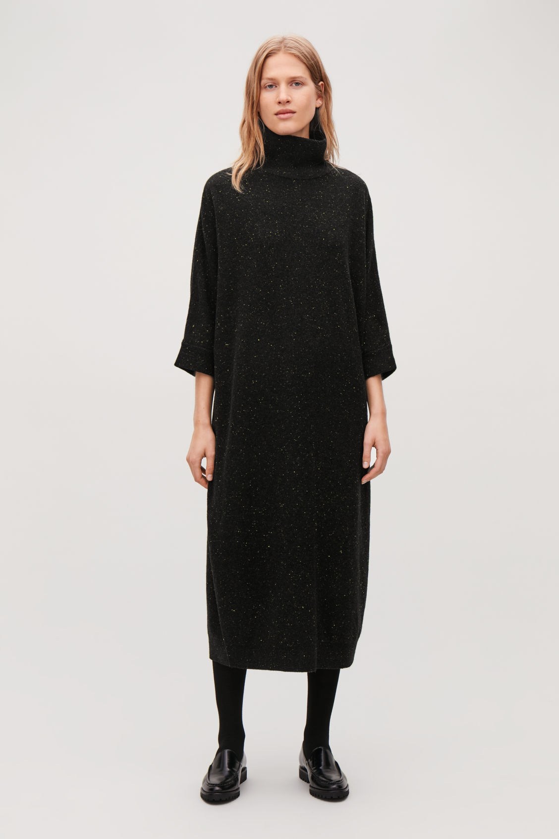 Model front image of Cos speckled high-neck dress in black