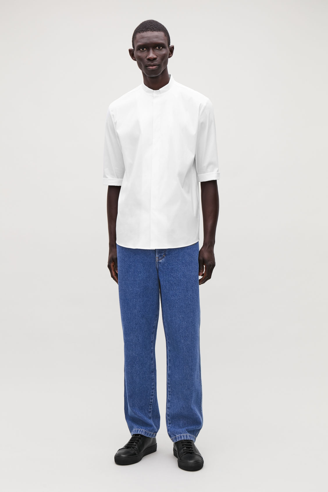 Model front image of Cos 3/4-sleeved grandad shirt in white